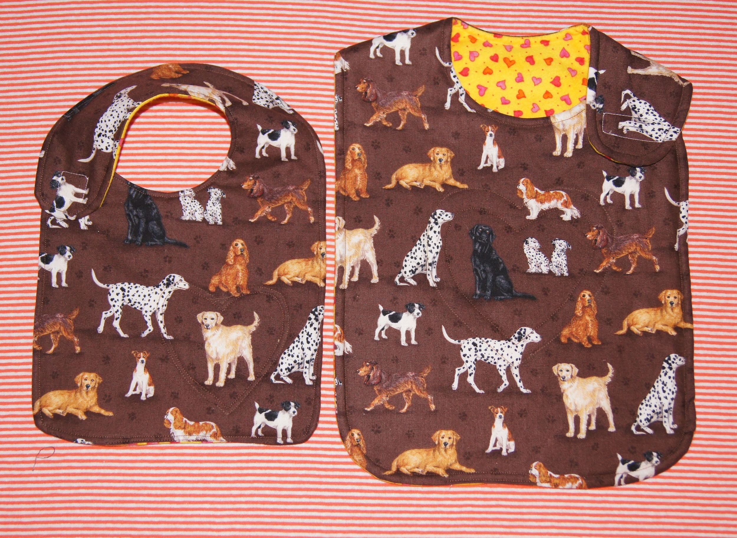 Infant and toddler sized bibs