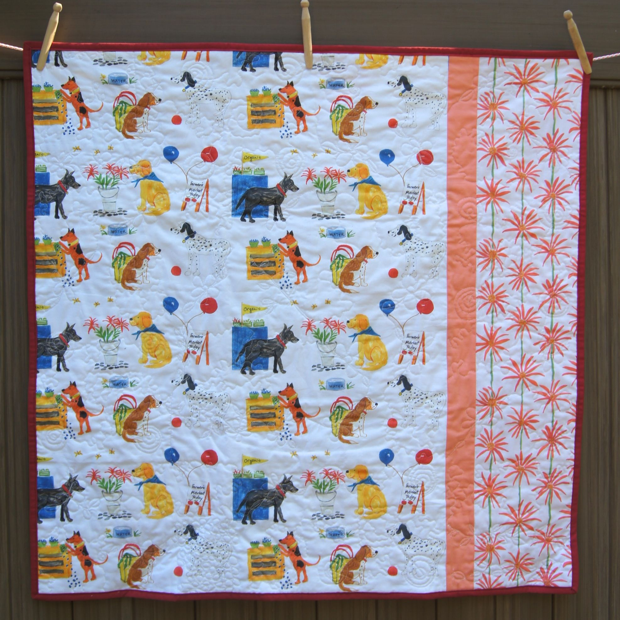 """""""Dogs at the Farmer's Market FQ Friendly Quilt"""" Back"""