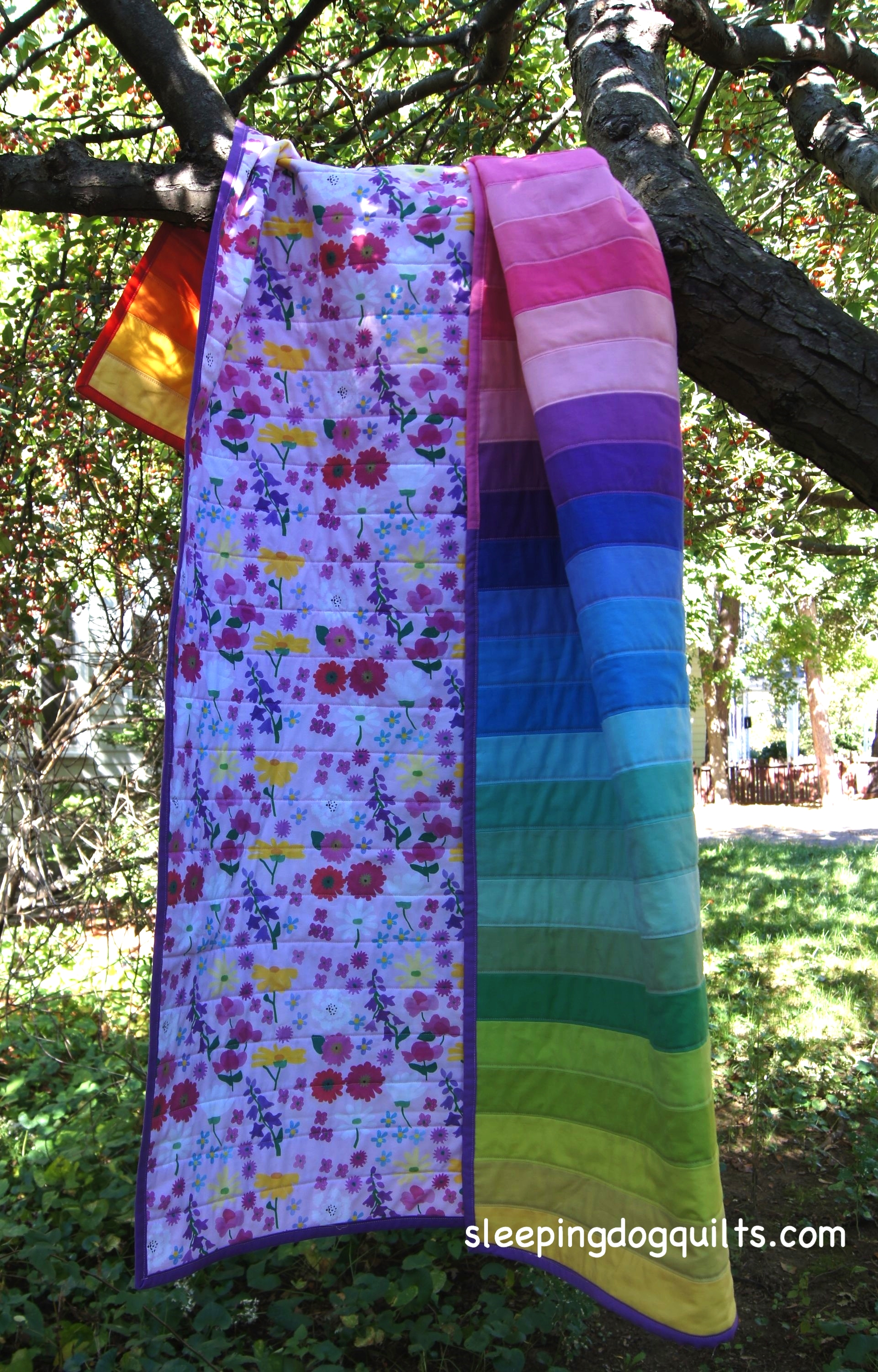"""Quilt Backing is """"My Flower Garden, Large pink"""", Printed by Spoonflower.com"""
