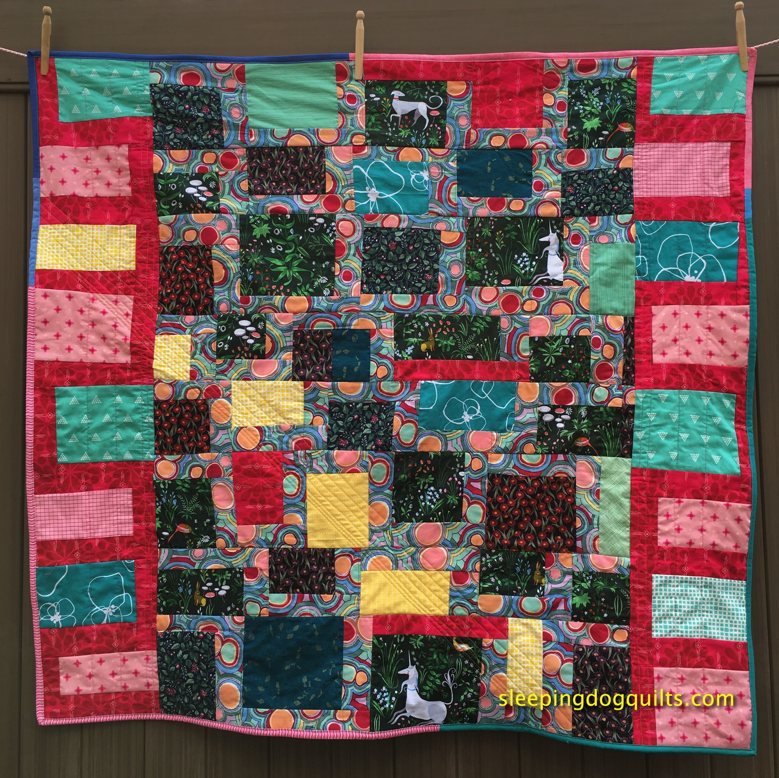 """French Forest Tapestry"" Modern Improv Quilt 46 inches wide, 43 inches high"