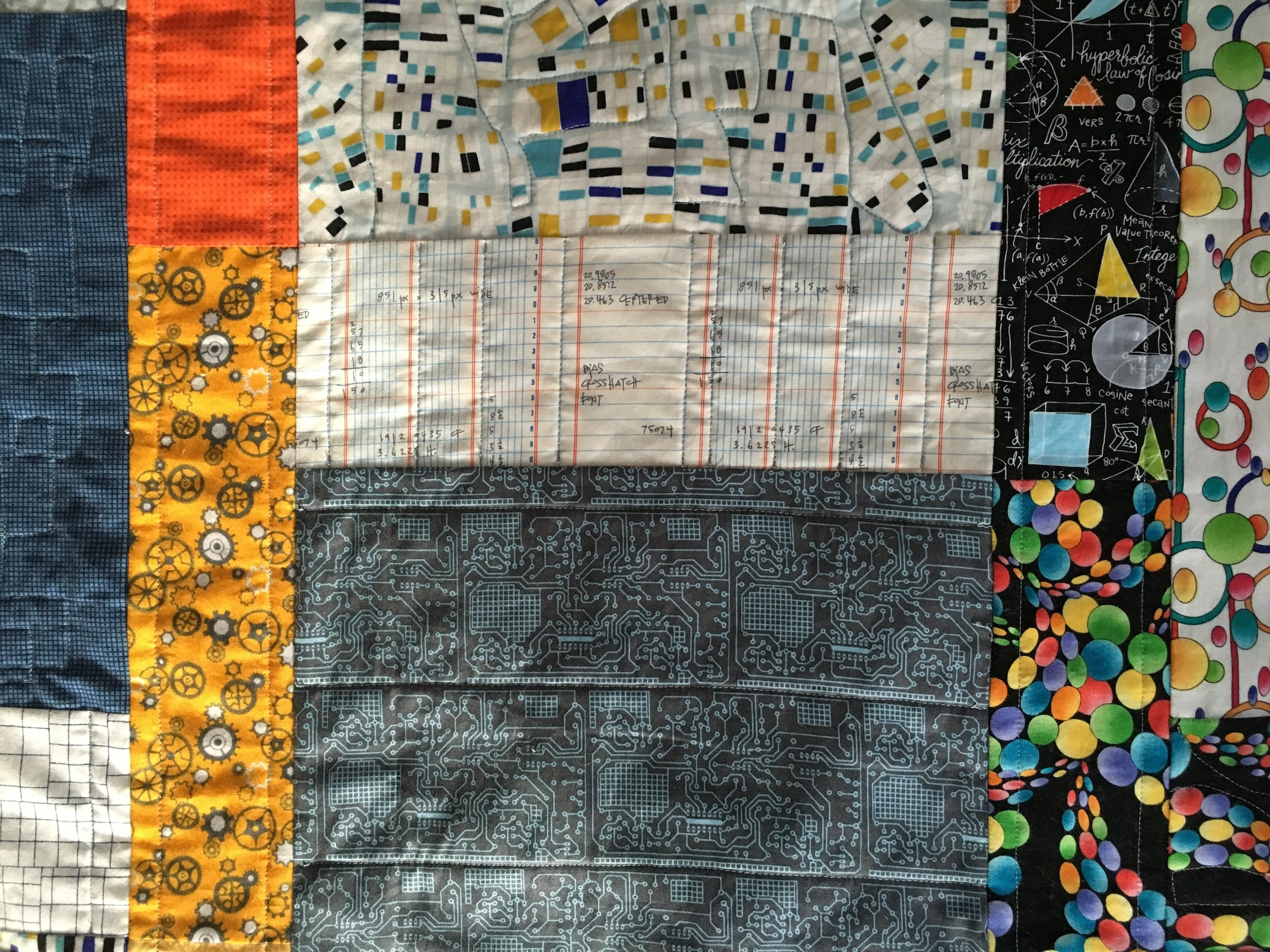 Detail of the blocks and quilting