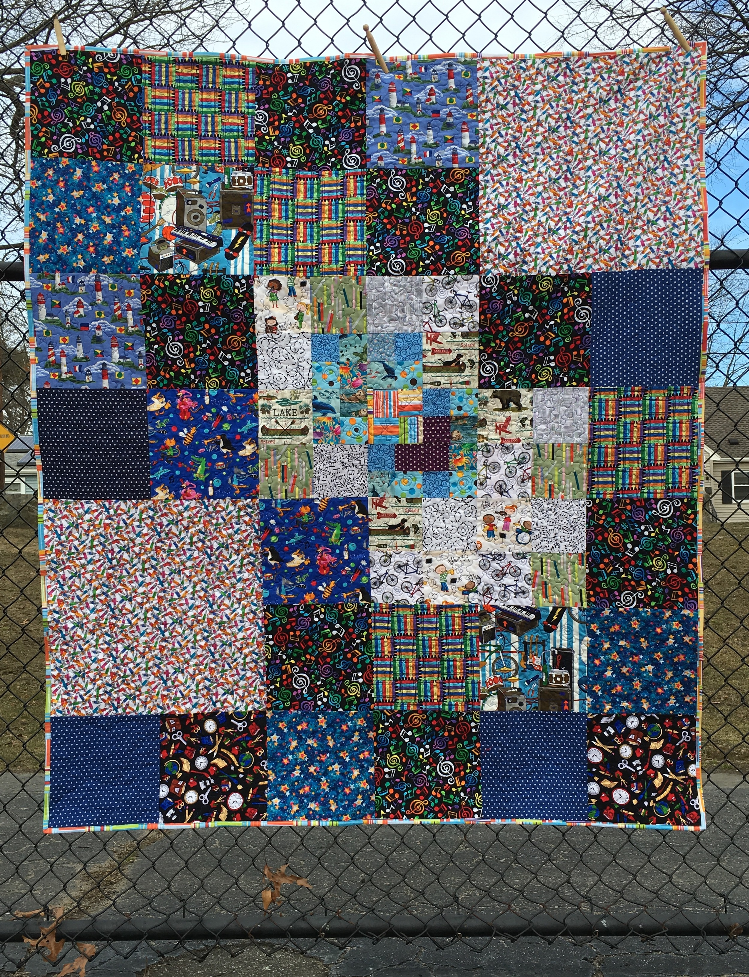 "Teen boy quilt. fits top of twin 60 x 70"""