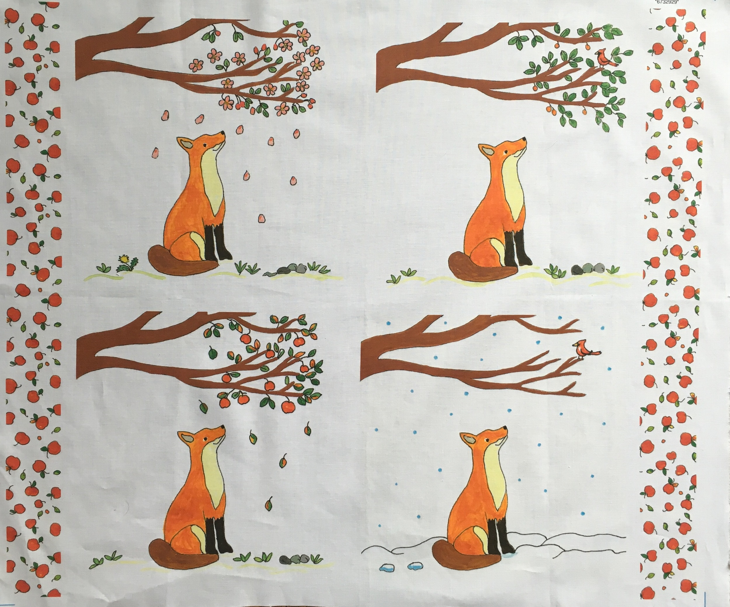 """ Fox and the Four Seasons "" Fat quarter panel 18 x 22 inches"