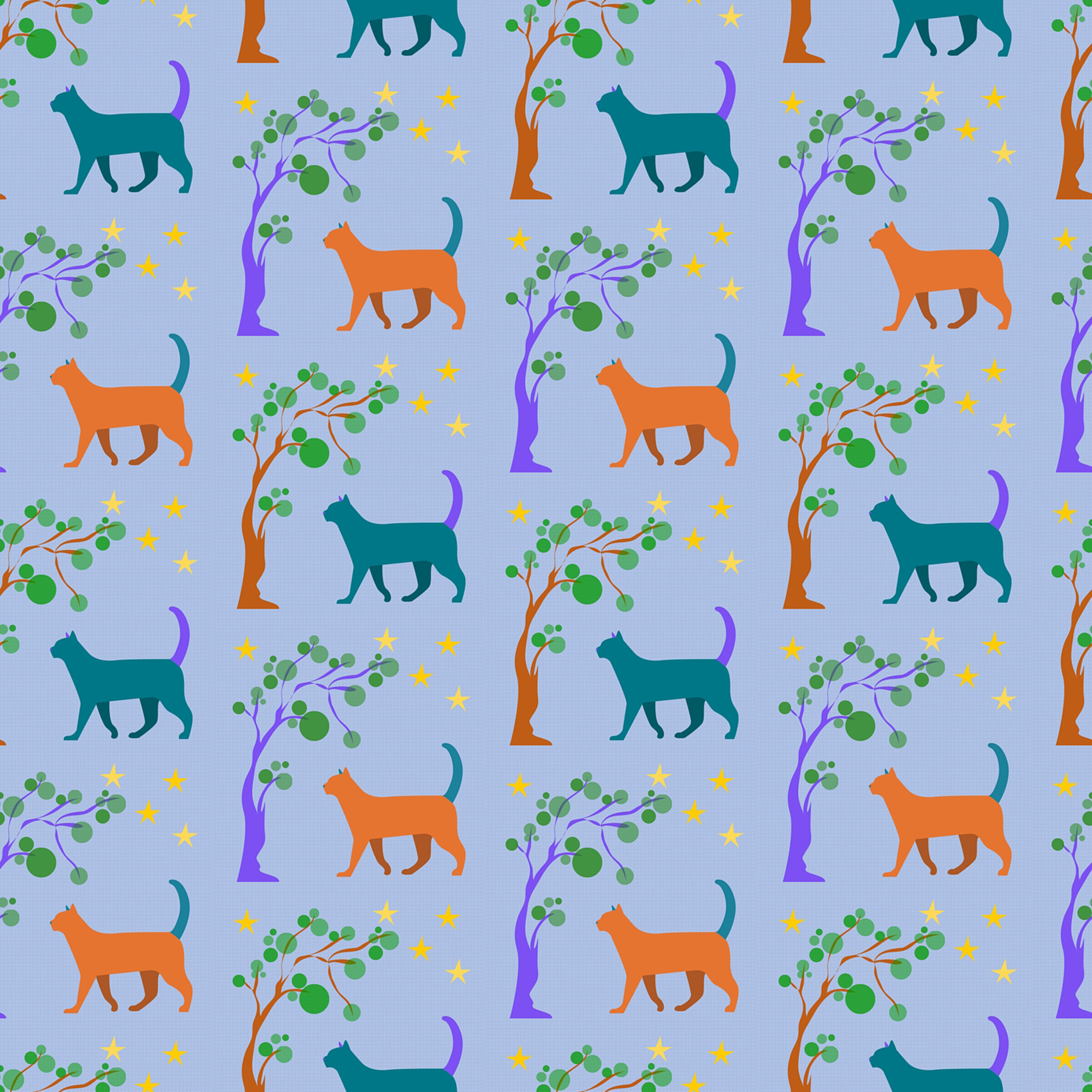 Fabric Orange and Teal Cats.jpg