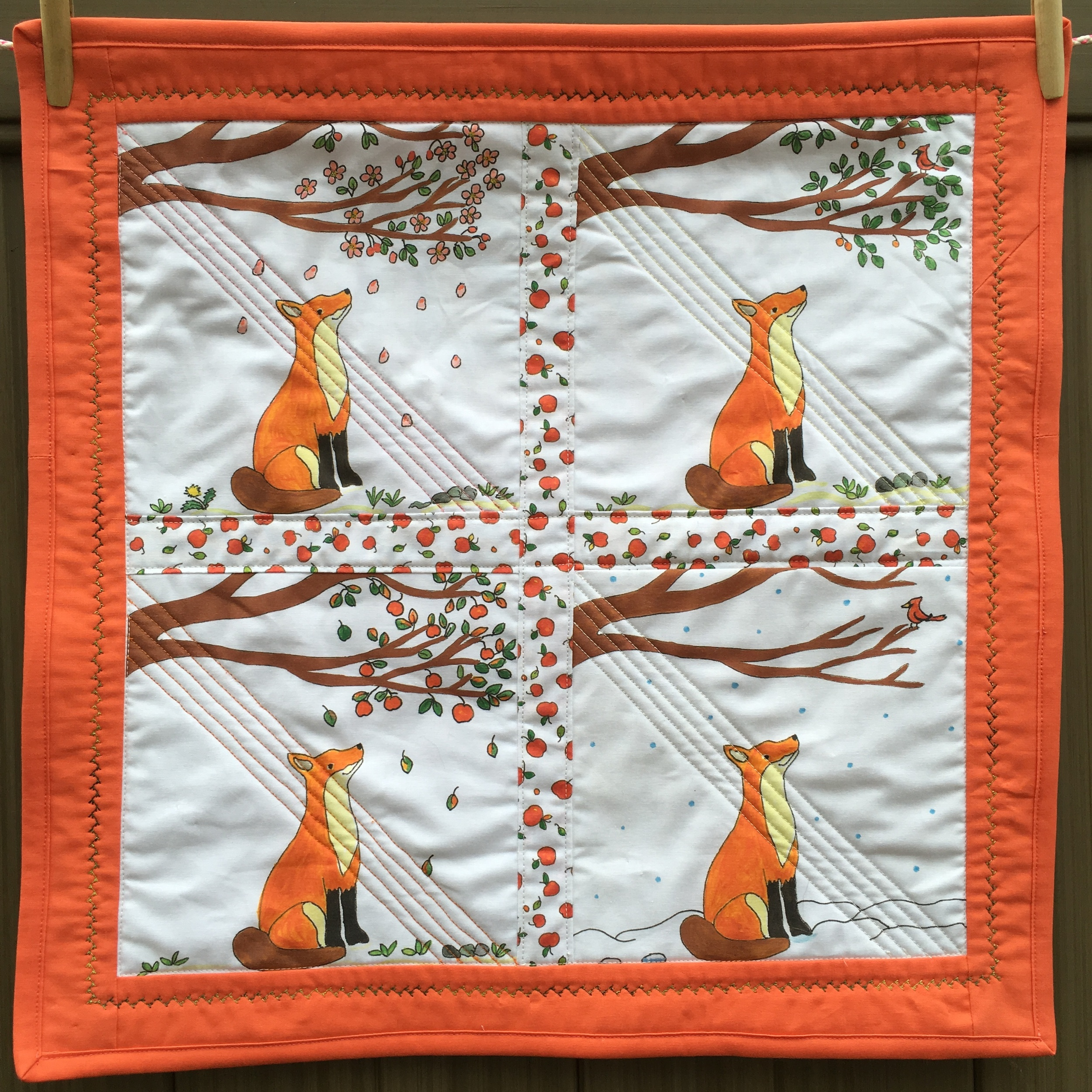 """""""Fox and the Four Seasons"""" Wall Hanging 20 x 20 inches"""