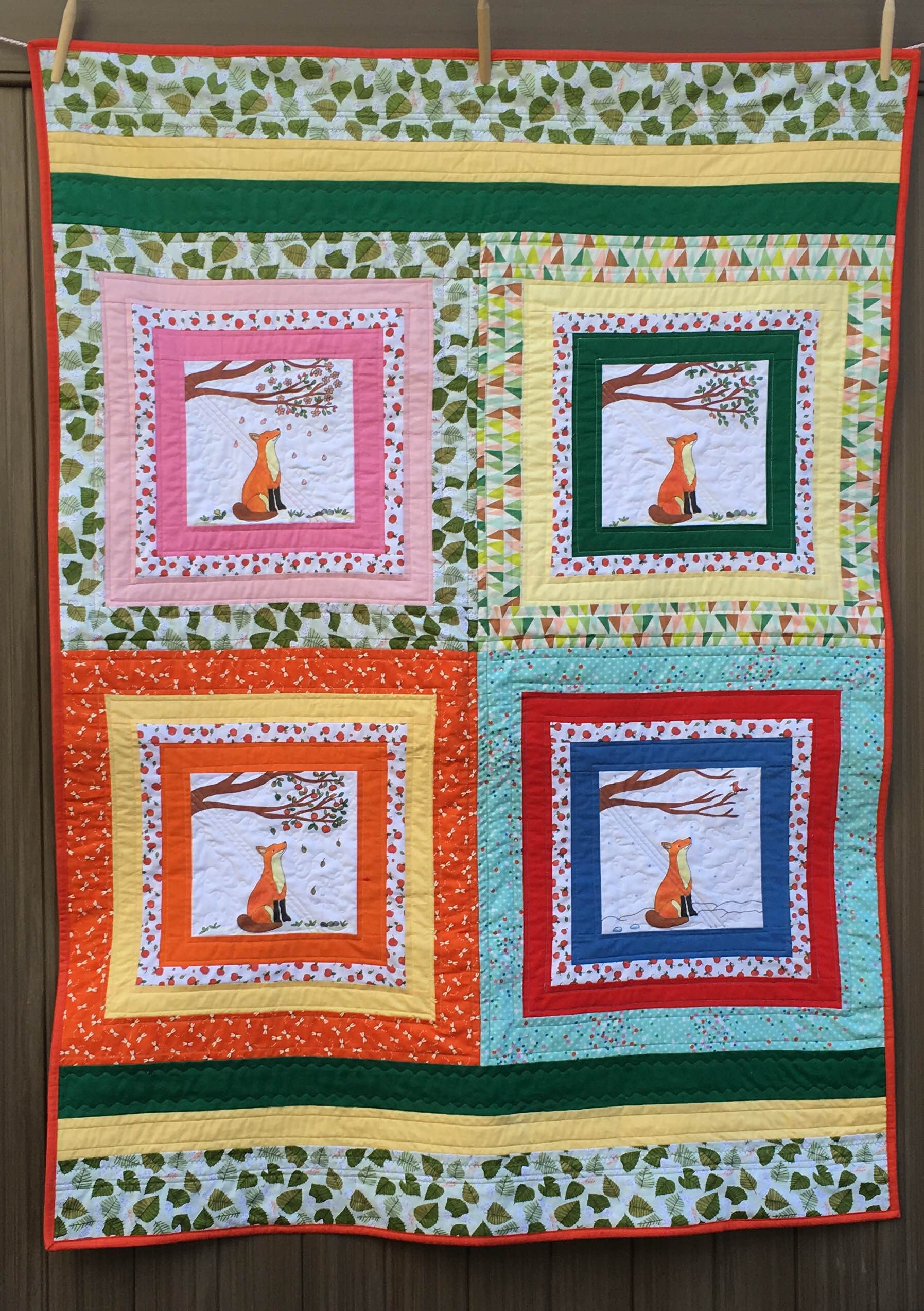 """""""Fox and the Four Seasons"""" quilt 40 x 56 inches"""
