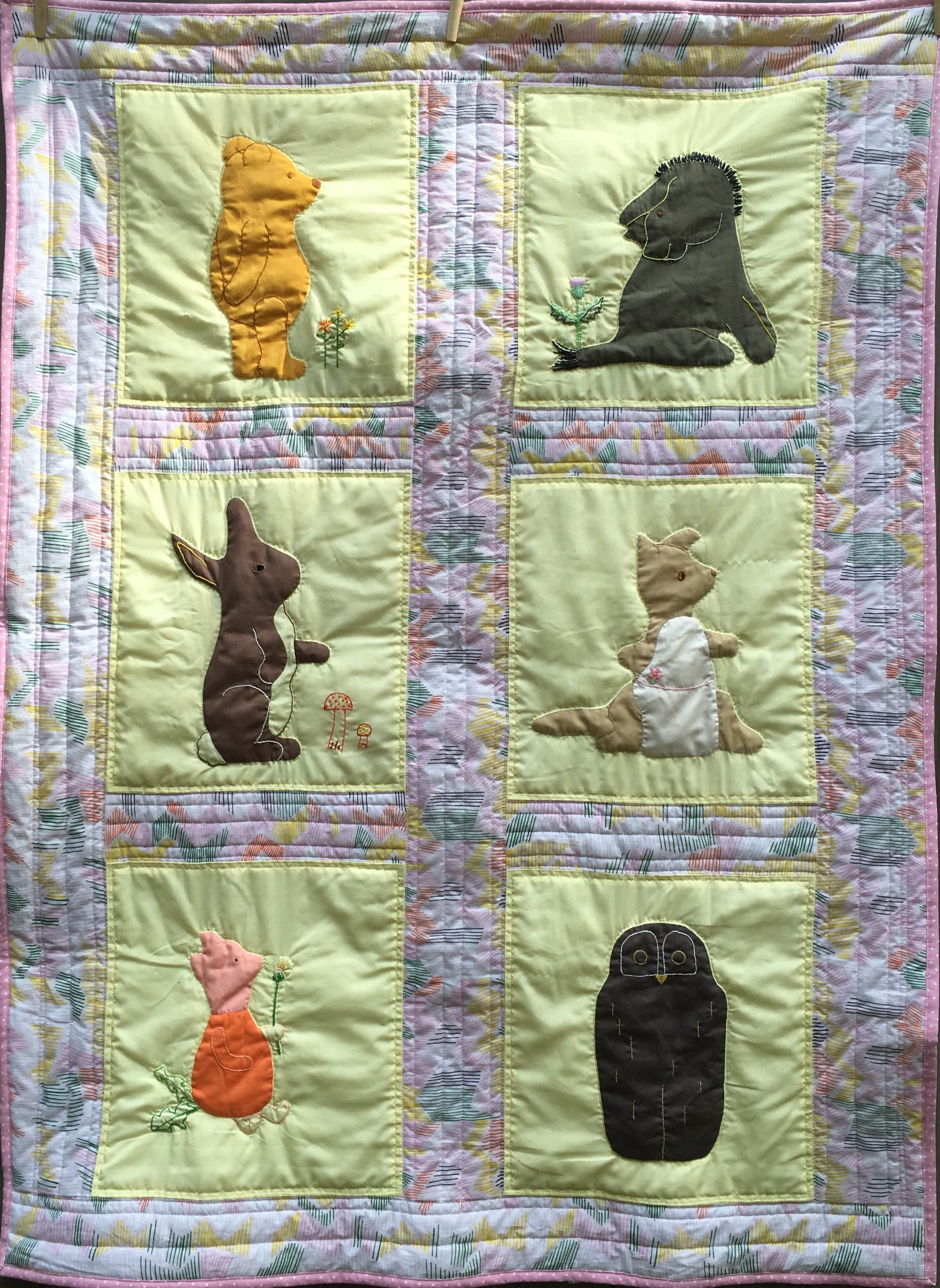 Renovated 1970s Pooh Baby Quilt