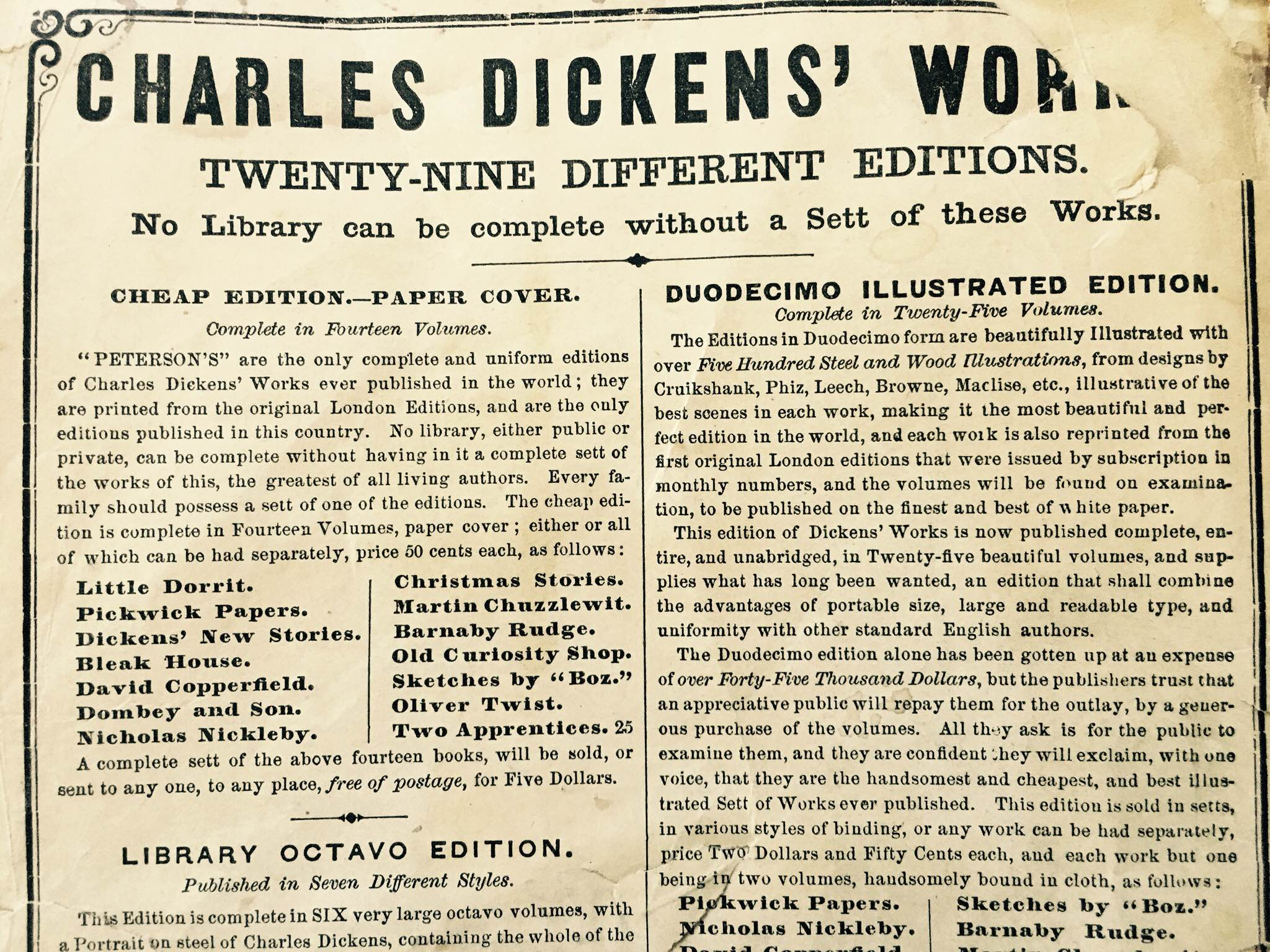 Part of a full page ad for books by Charles Dickens in various editions.