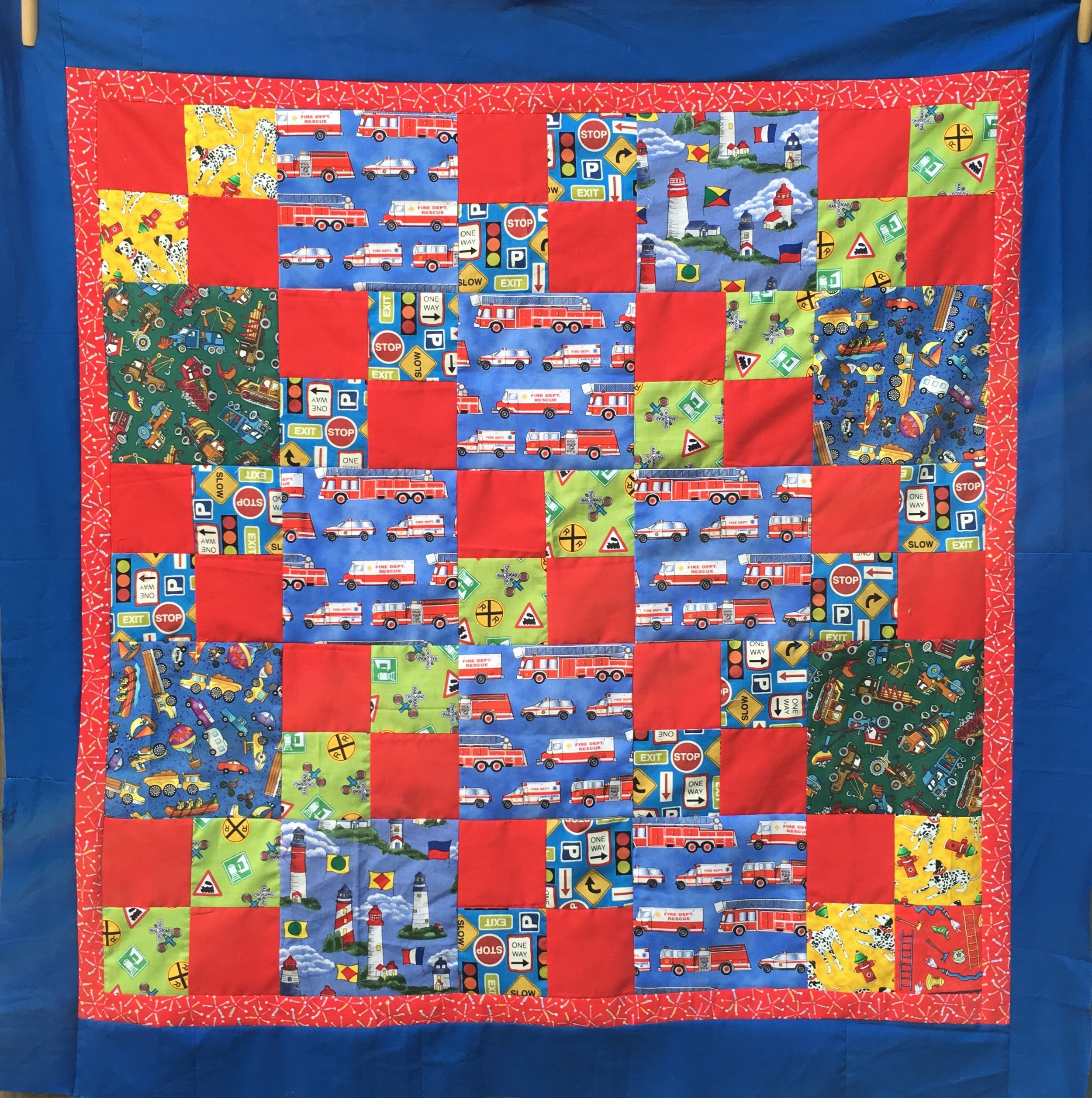 """""""Busy Beach Town"""" Quilt top 37.5 inches square"""