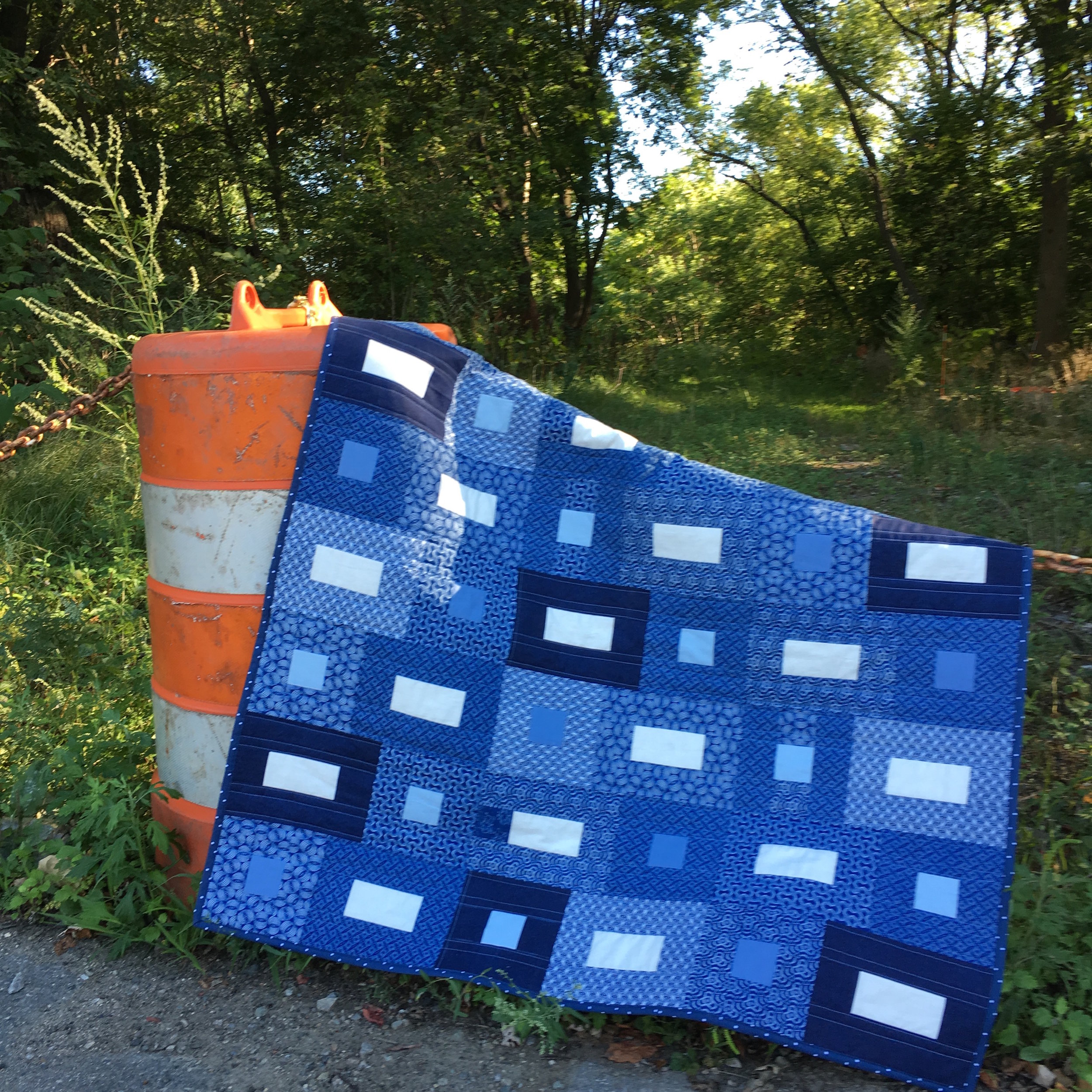 Indigo Color Quilt with Shweshwe South African fabrics