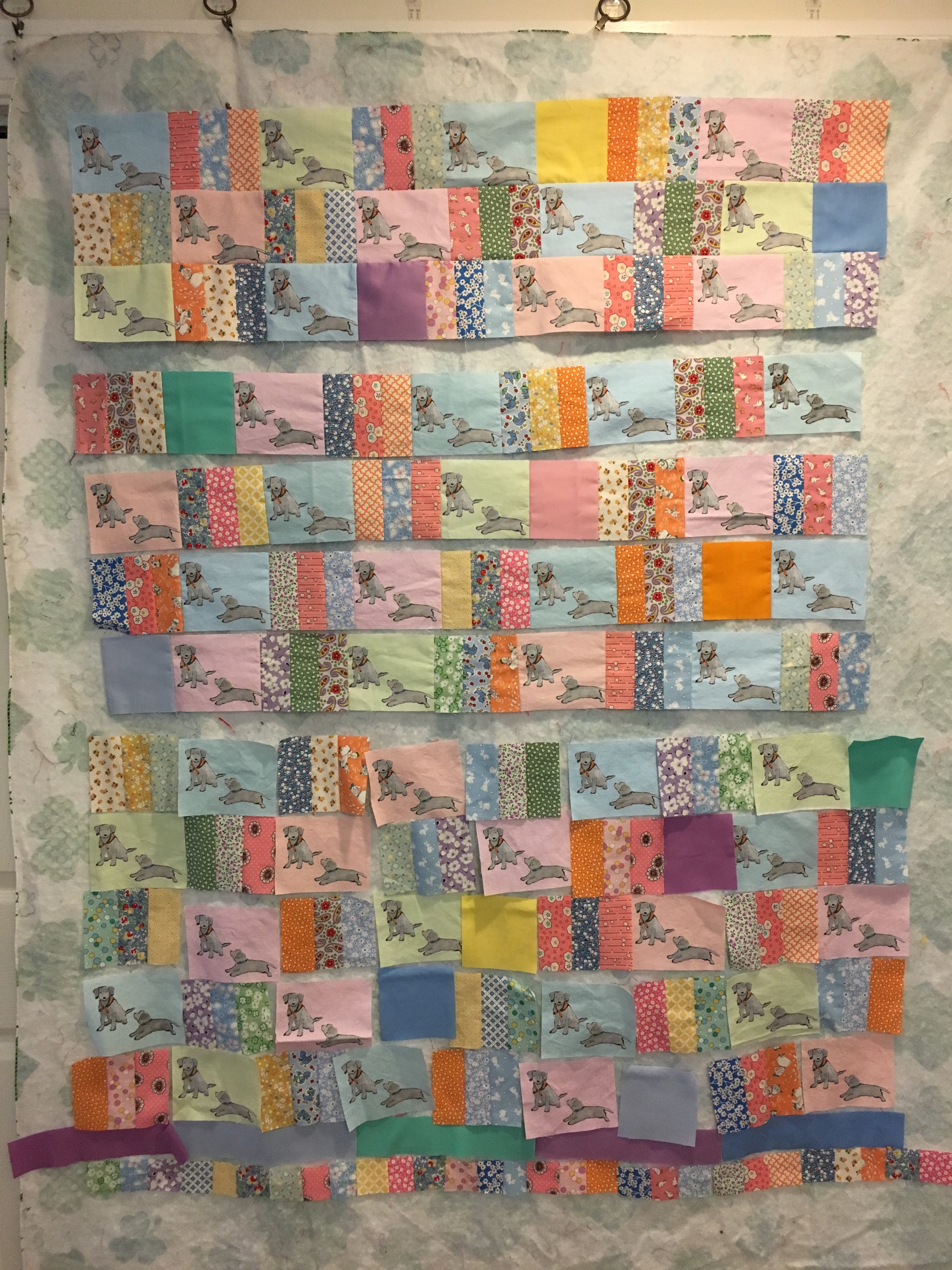 Lab Puppies Quilt, Partially assembled