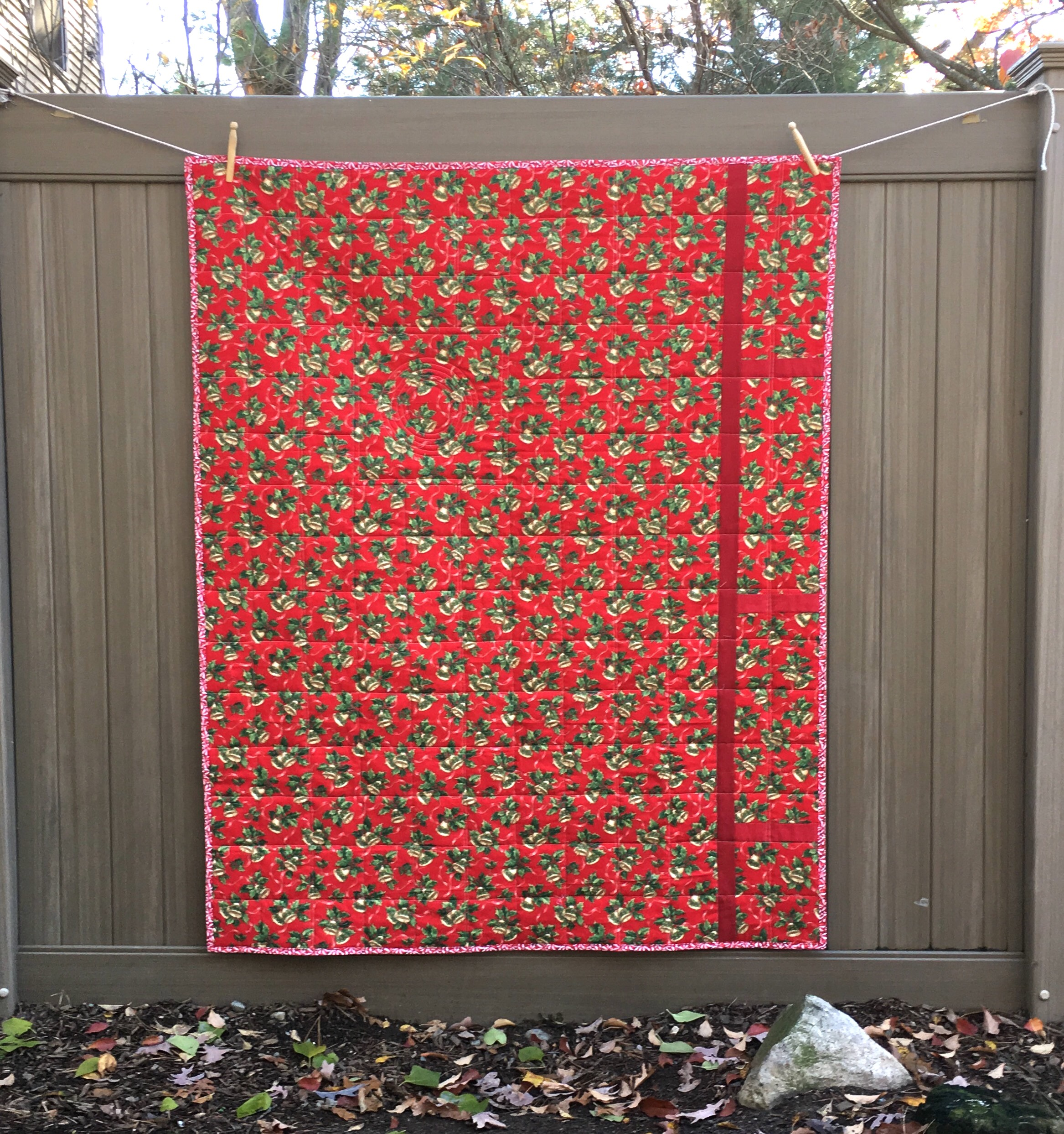 Back of the Churn Dash Christmas Quilt