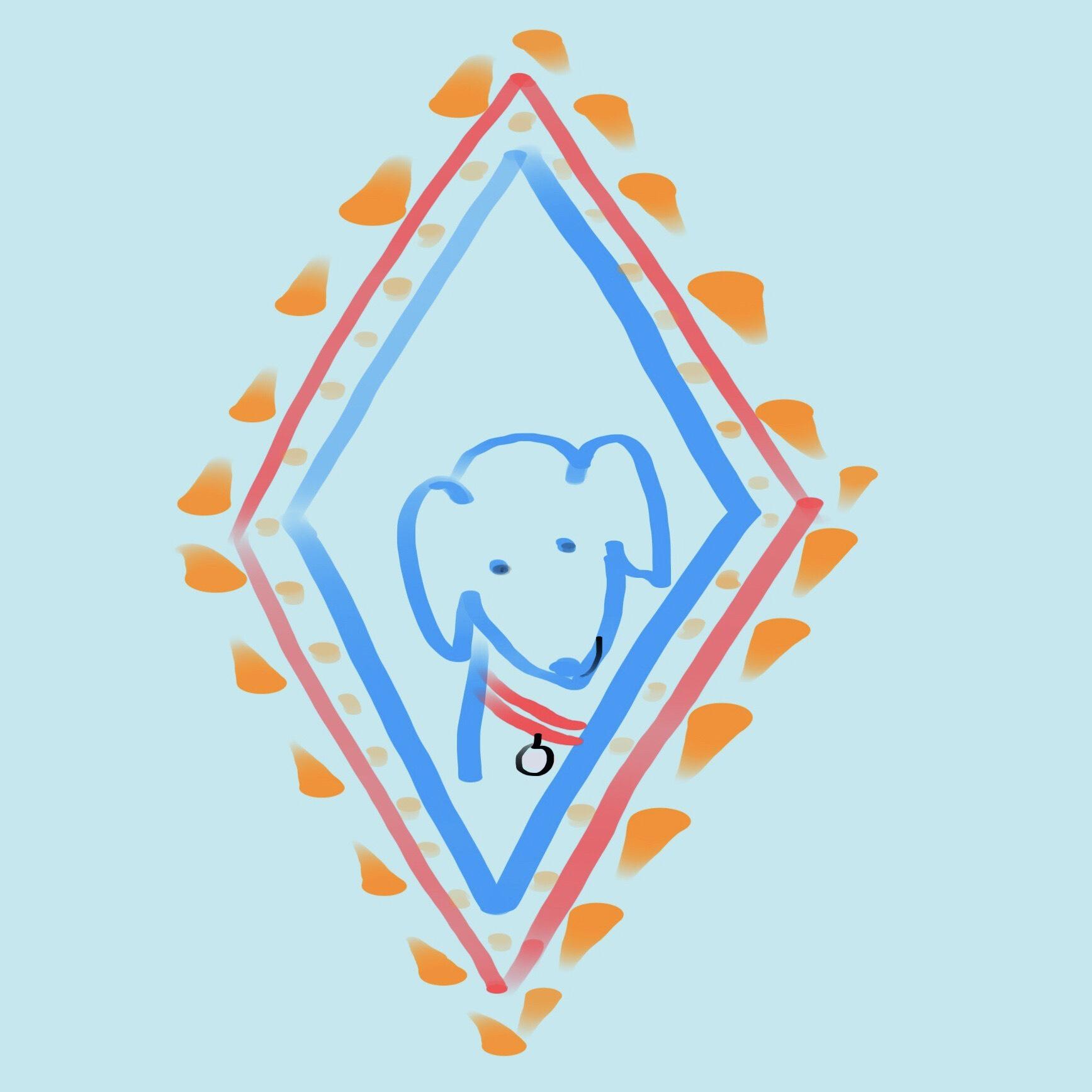 Digital draw Dog in diamond.jpg