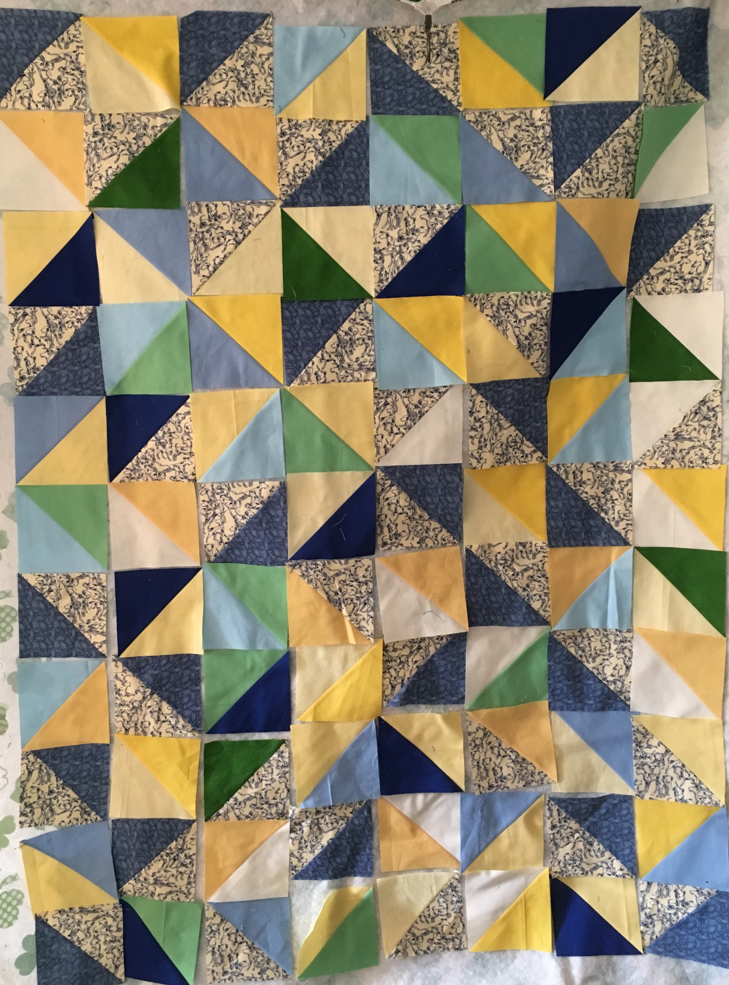 Quilt Dalmation HST 1 color Design wall.jpg