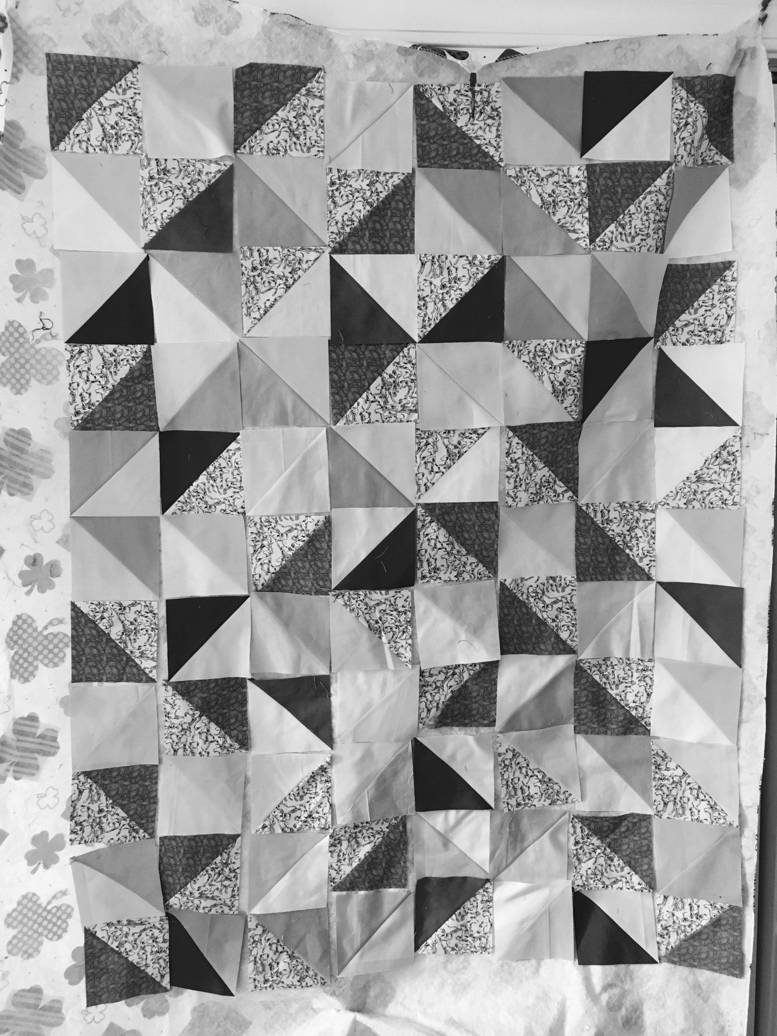 Quilt  Dalmation HST BW design wall.jpg