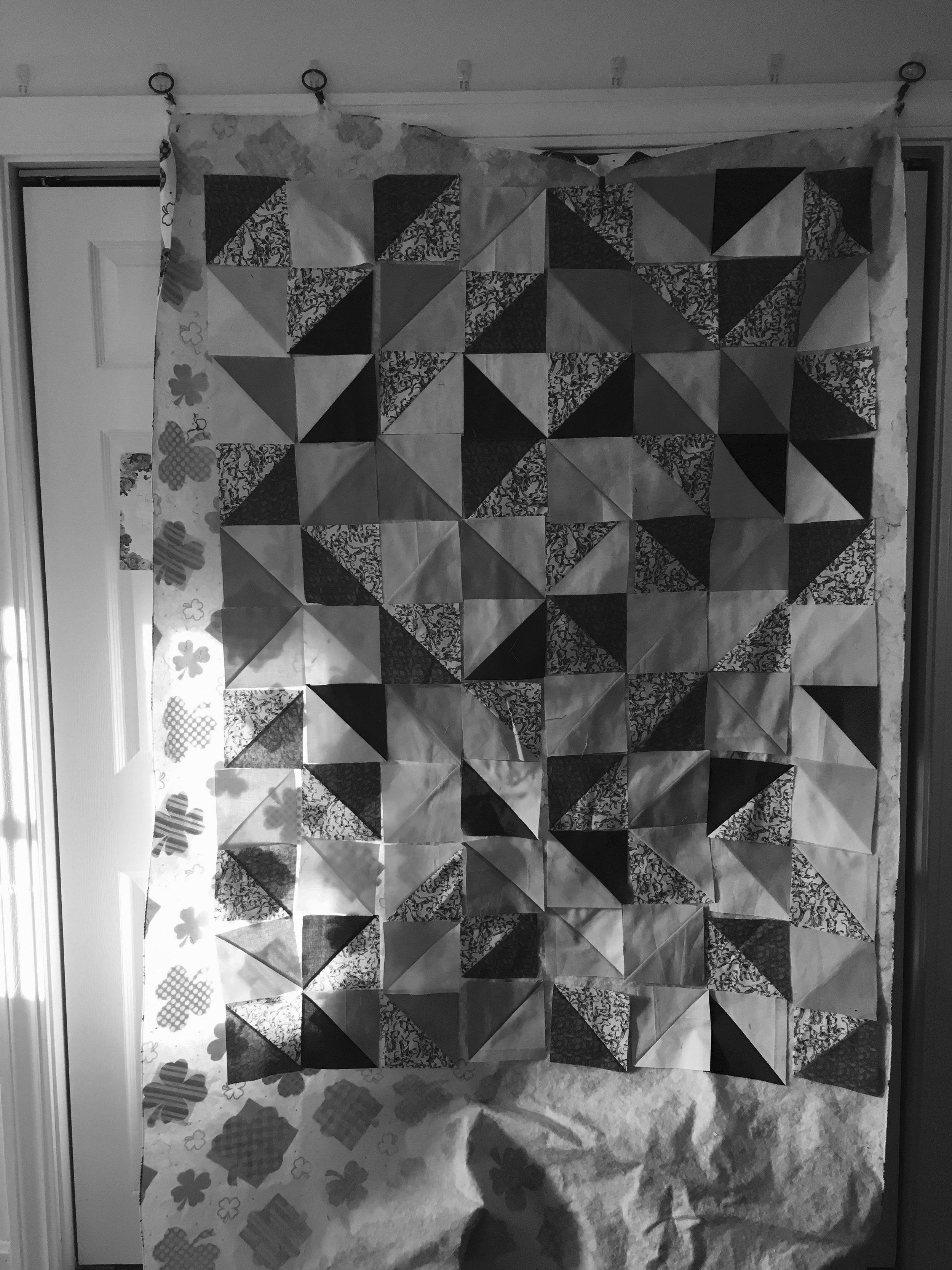 Quilt  Dalmation HST BW 2 Design wall.jpg