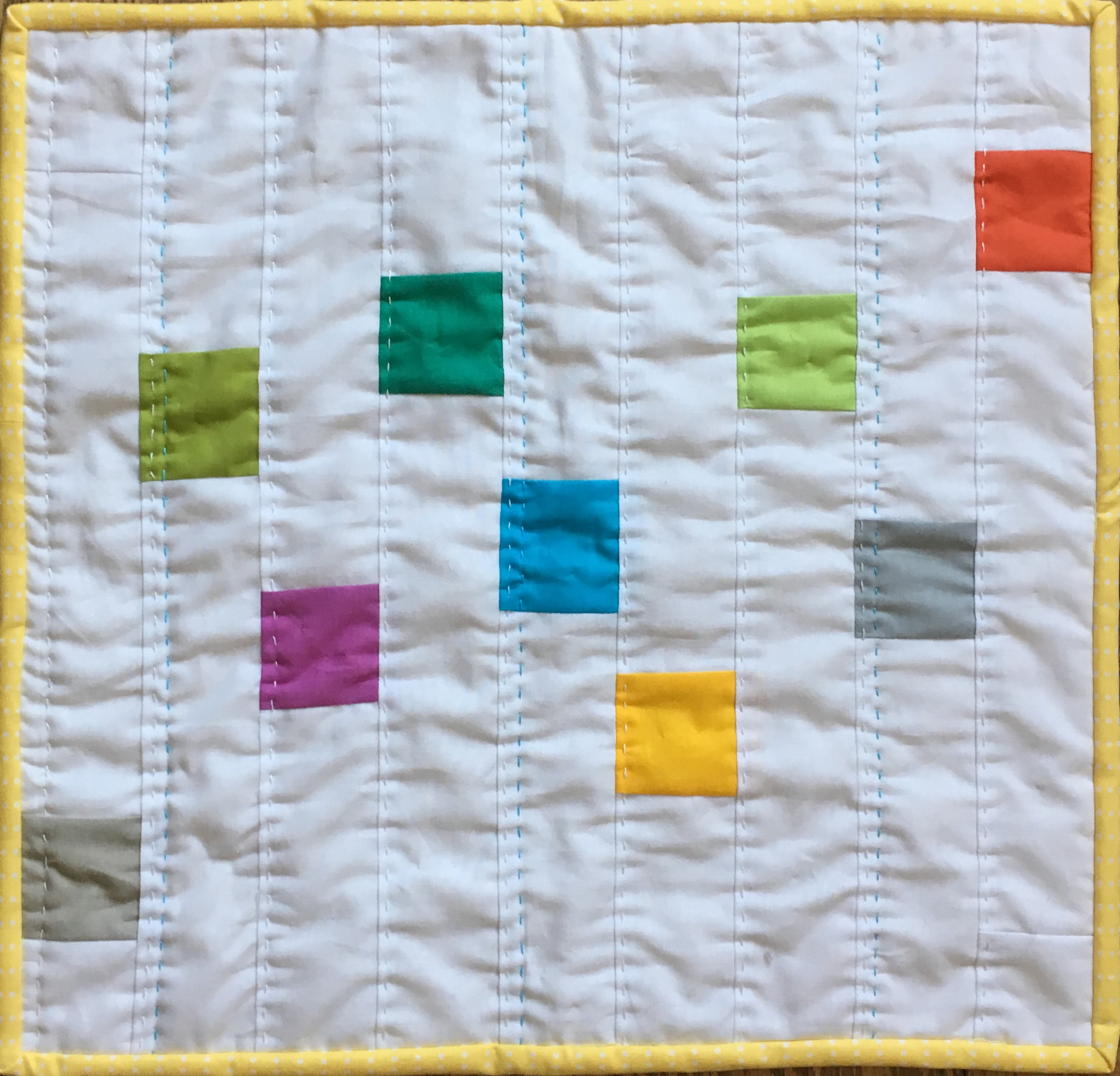 Modern Color Block Doll Quilt 15 x 16 inches