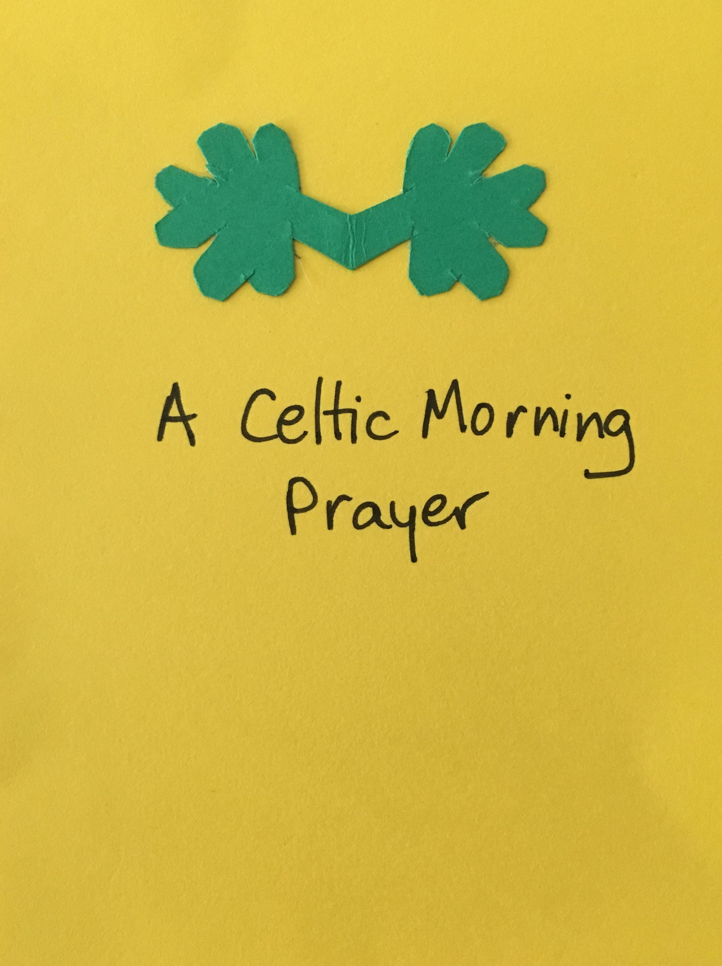 Paired shamrocks on a zine I designed using a tradition Celtic Prayer