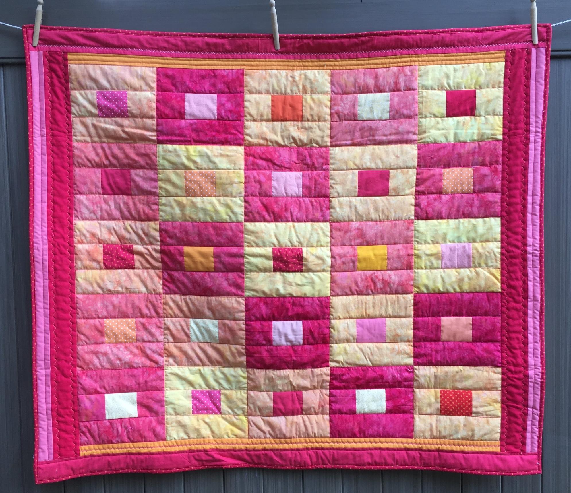 Analogous Colors Lap Quilt--Hots! 42 x49 inches