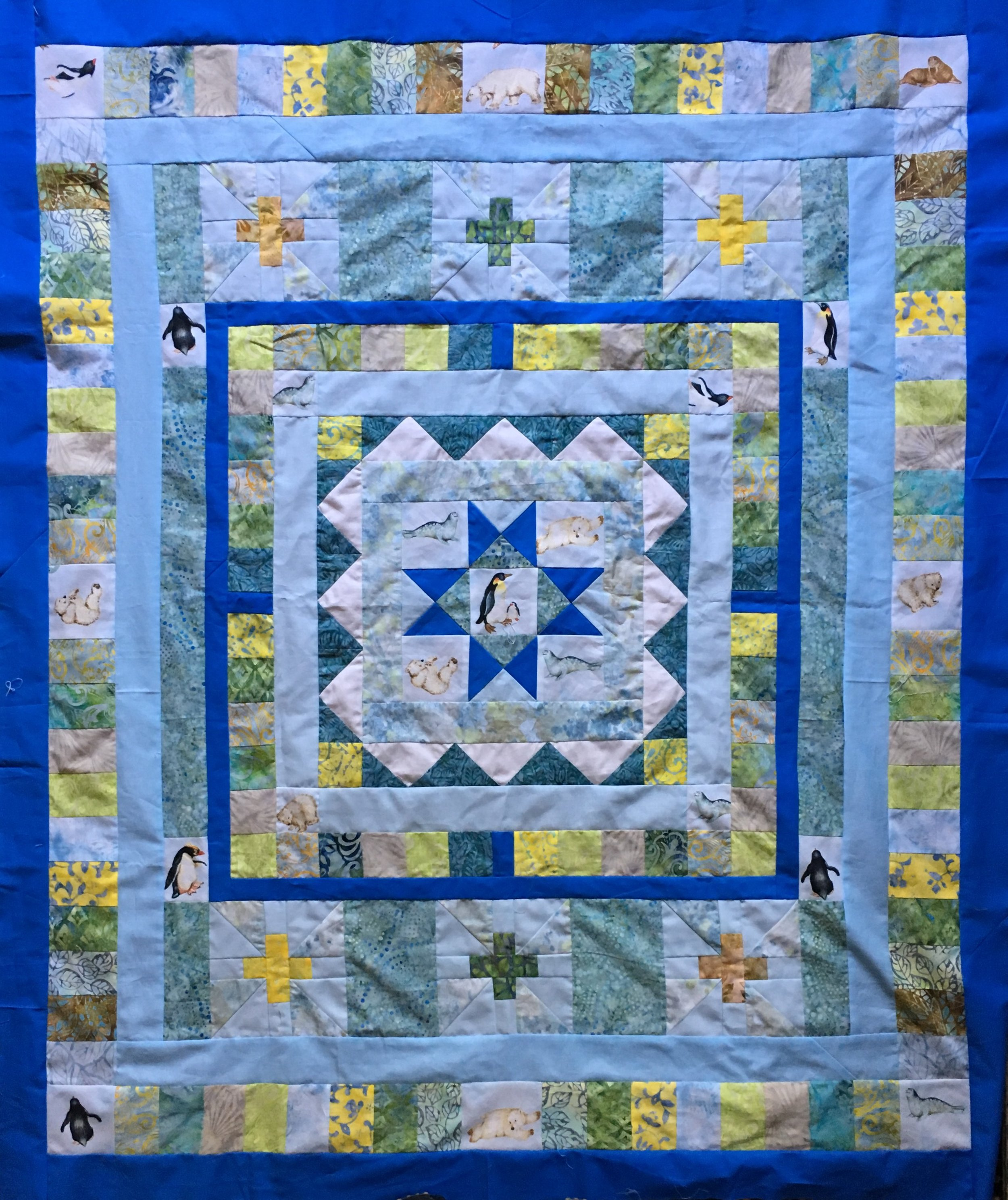 "Unquilted top:  ""Polar Medallion Quilt"",  44 x 52 inches"