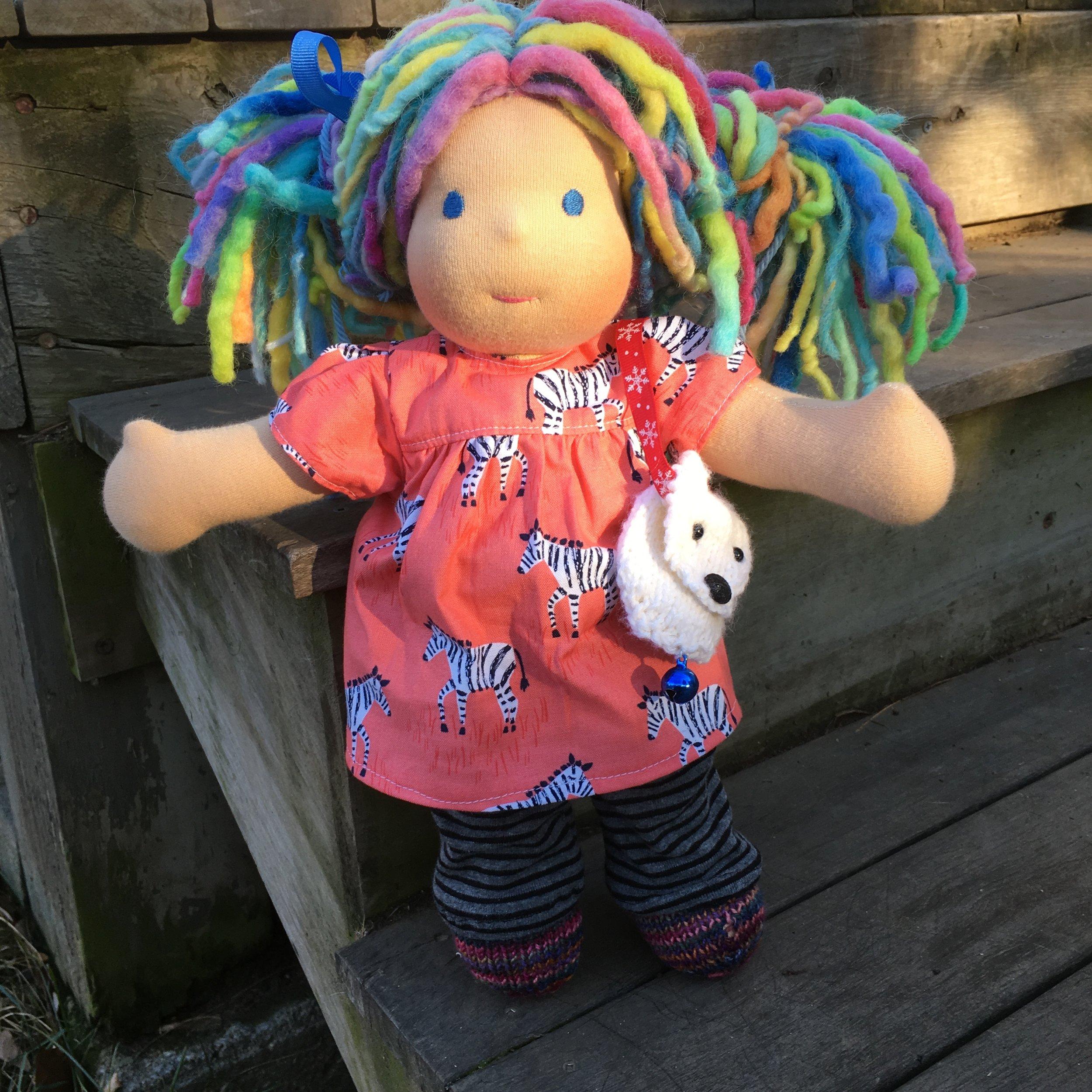 Tulip, a Bamboletta Cuddle Doll, with the Polar Bear Pouch