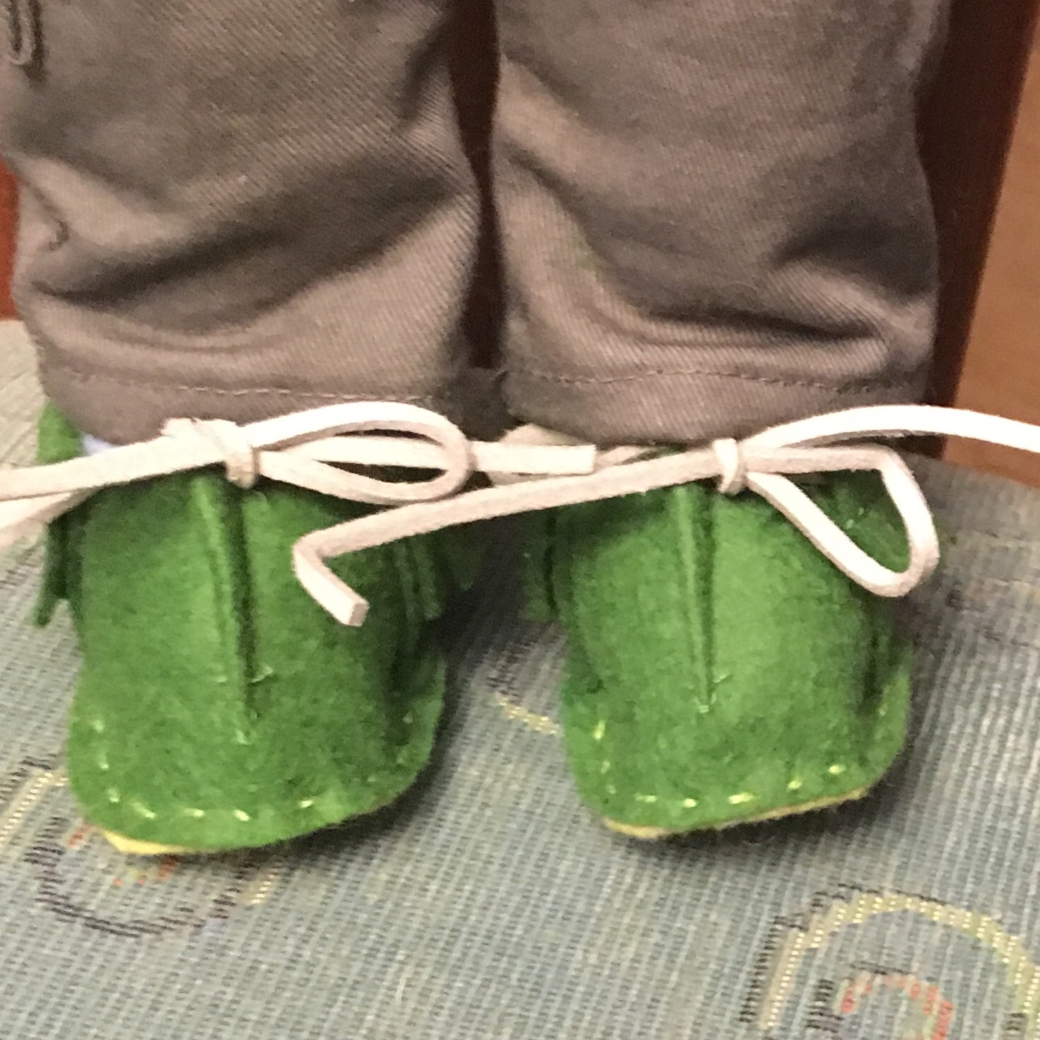 100% Wool Felt Moccasins with rawhide laces