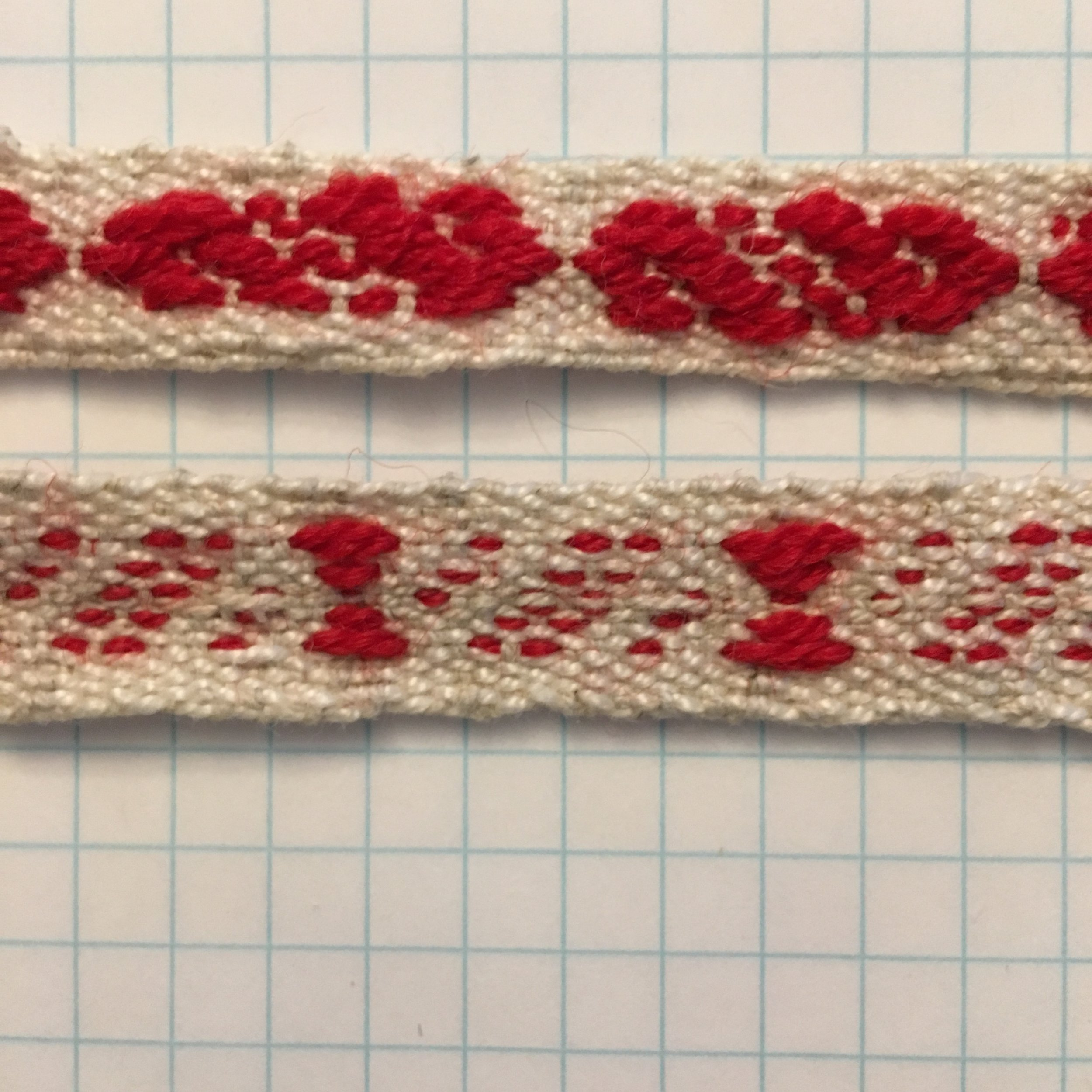 Band weaving with Baltic pattern, red wool and cottolin