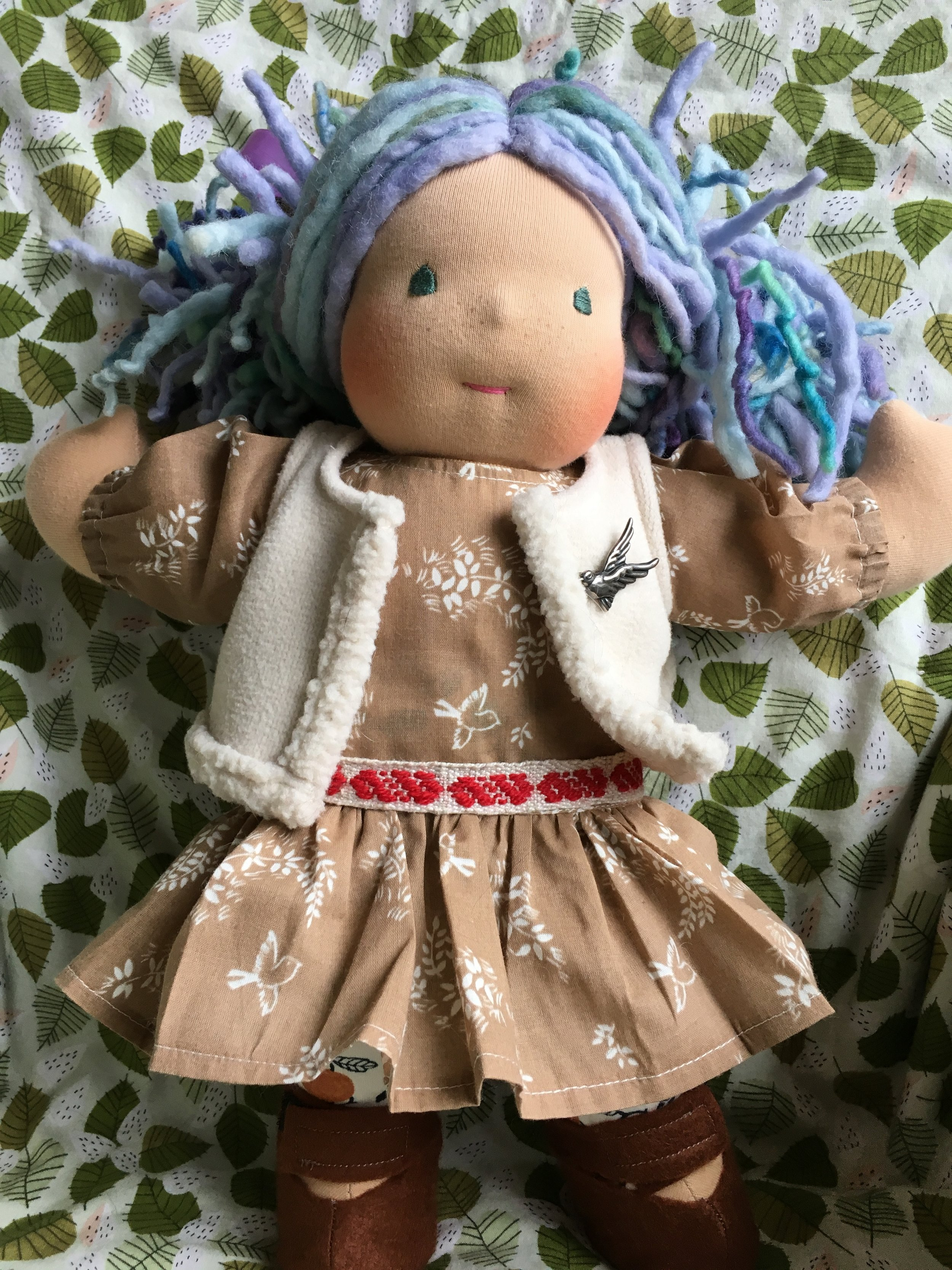 Wool and Cottolin woven belt on a doll and doll outfit made by Bamboletta.com