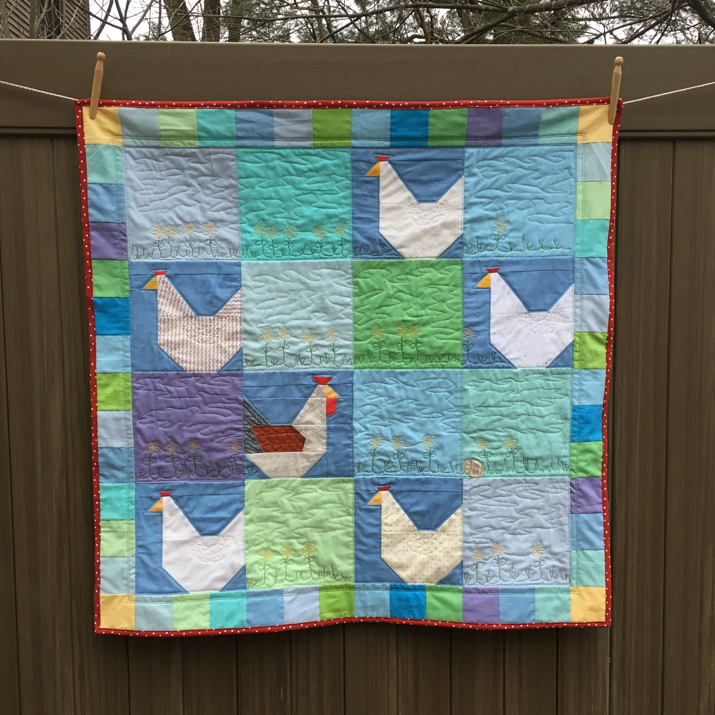 Free Range Chicken Quilt 37 inches square