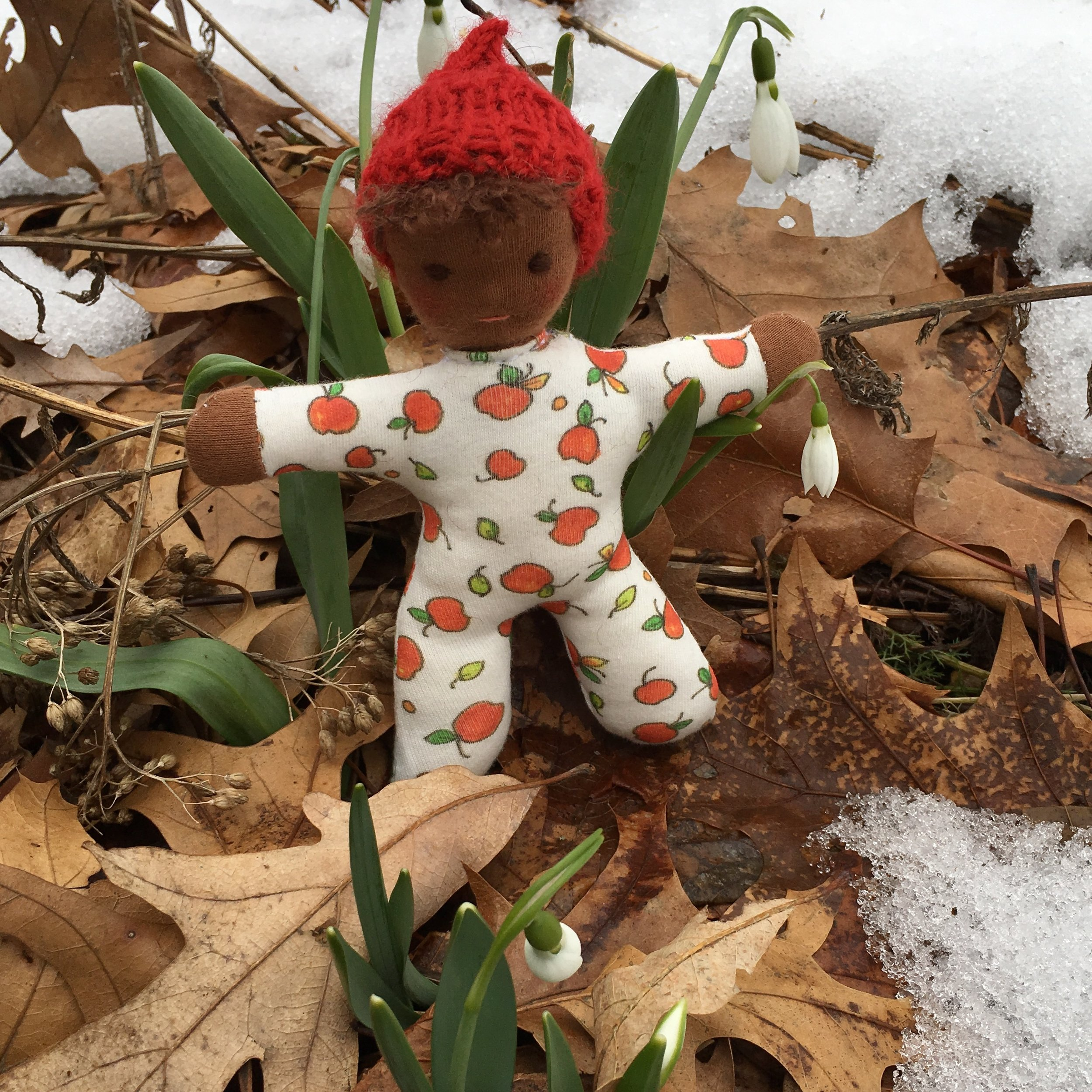 6 1/4 inch soft Waldorf doll with the snowdrops