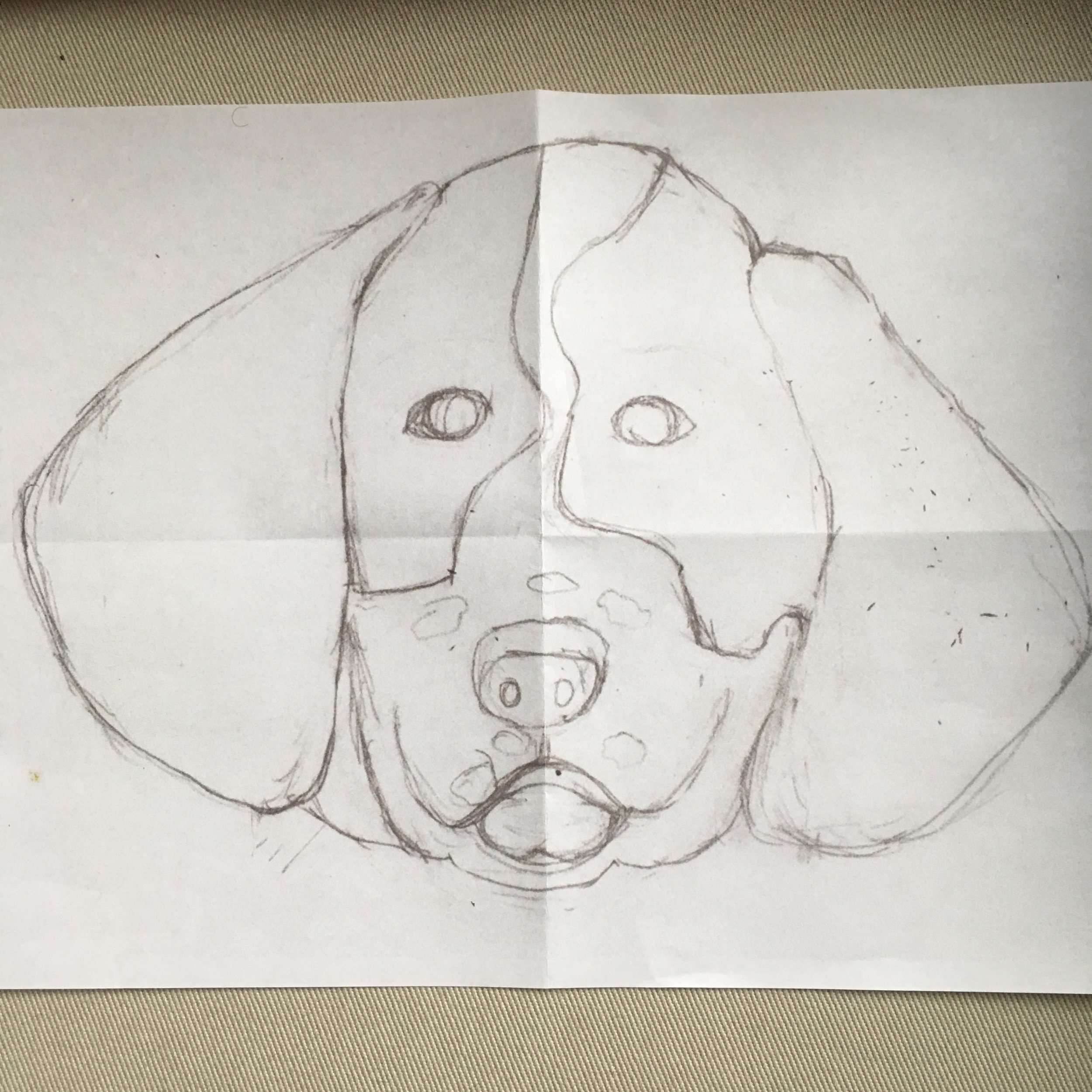 Springer drawing, folded in 4 quadrants to aid placement of the components on the pillow cover