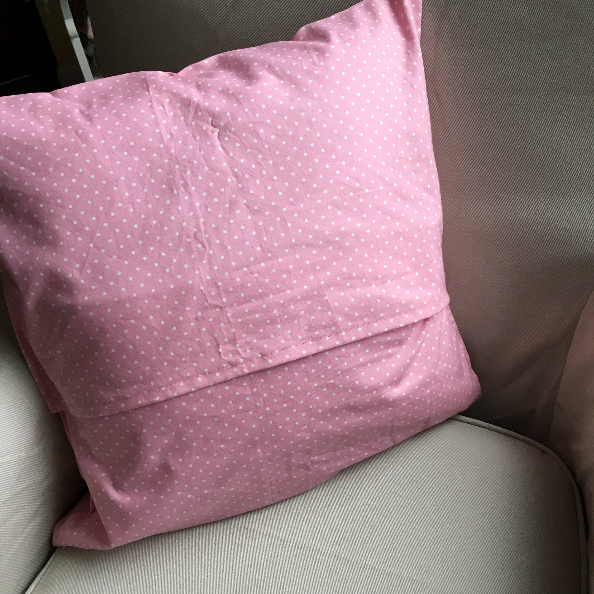 Back of the pillow with an envelope closure