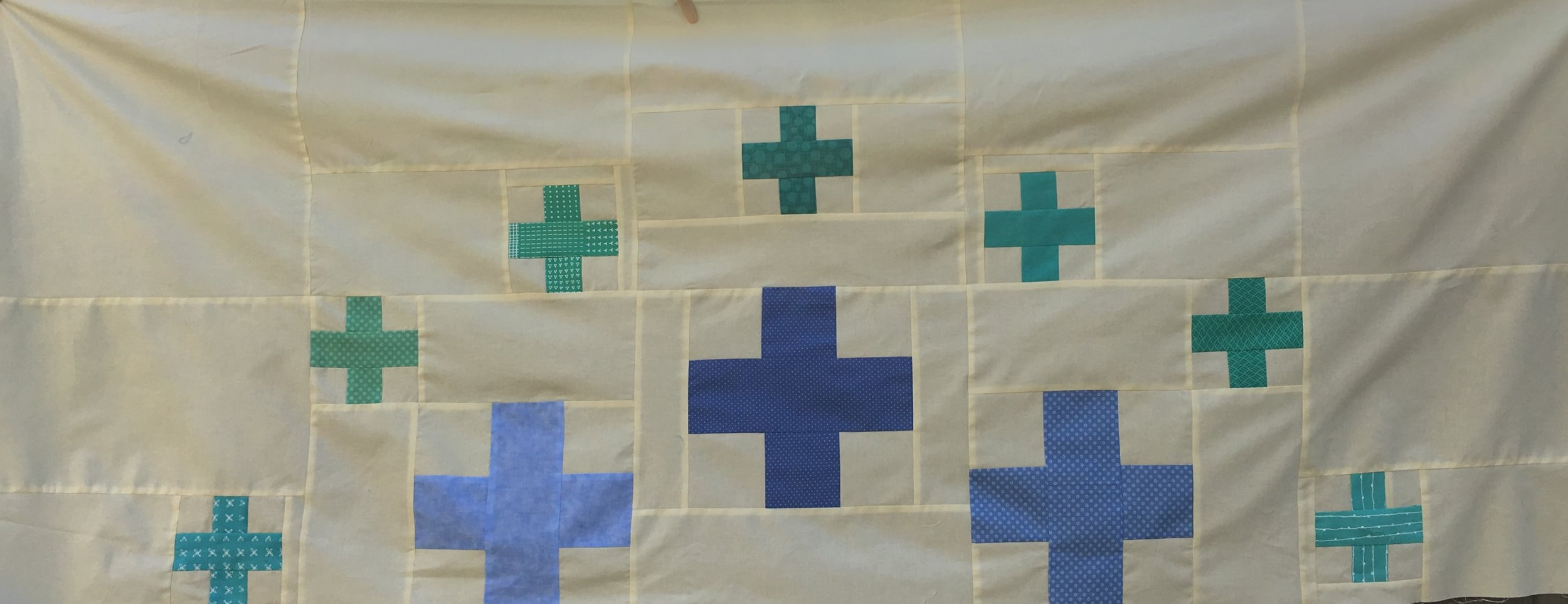 "First 2 rows of the ""Plus Surround"" Quilt from  modern PLUS SIGN QUILTS"