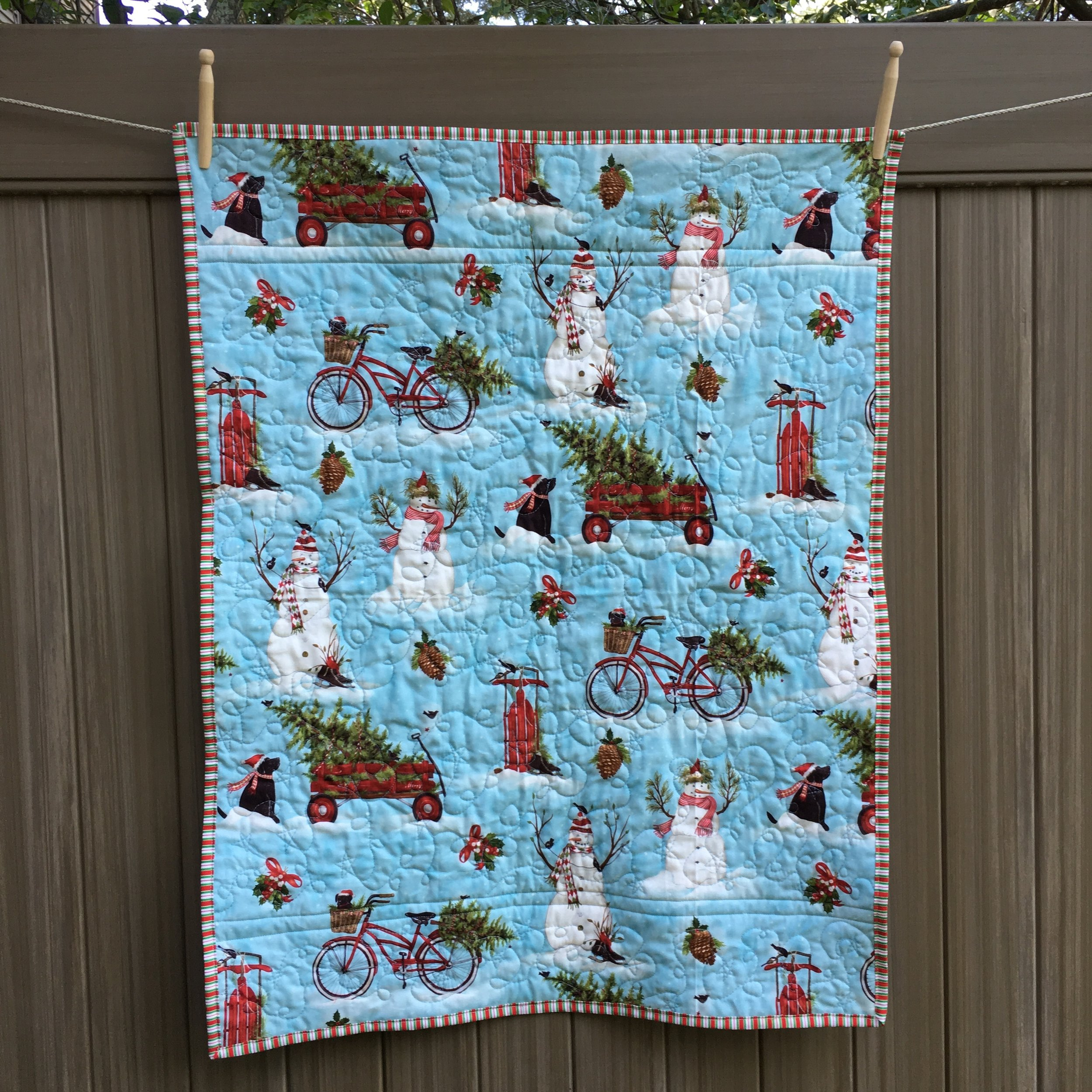 Reverse of quilt at top