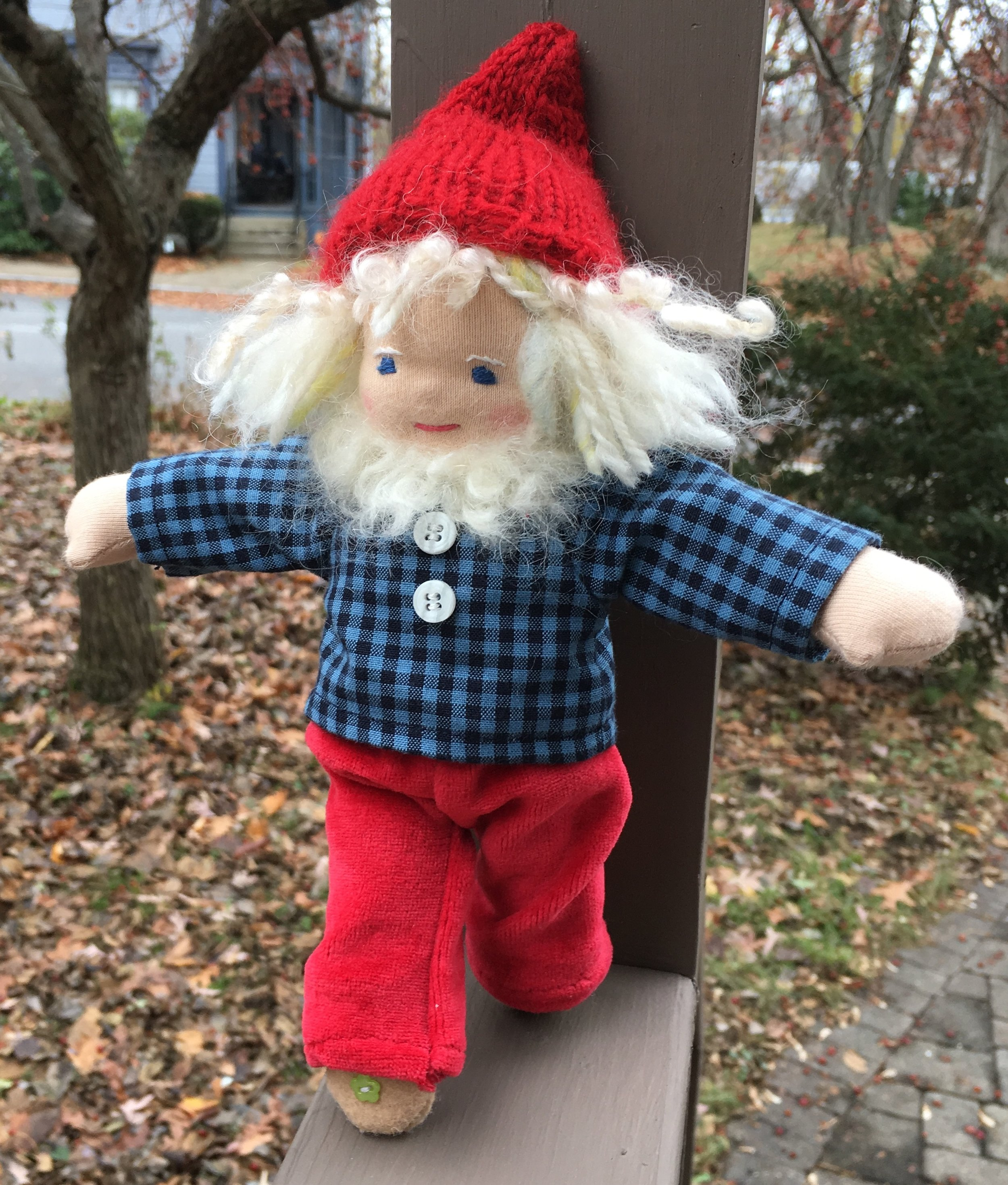 Cloudberry in his new gingham shirt. Because it isn't Christmas ALL year! (And his pants are freshly laundered….so, no green knees)!