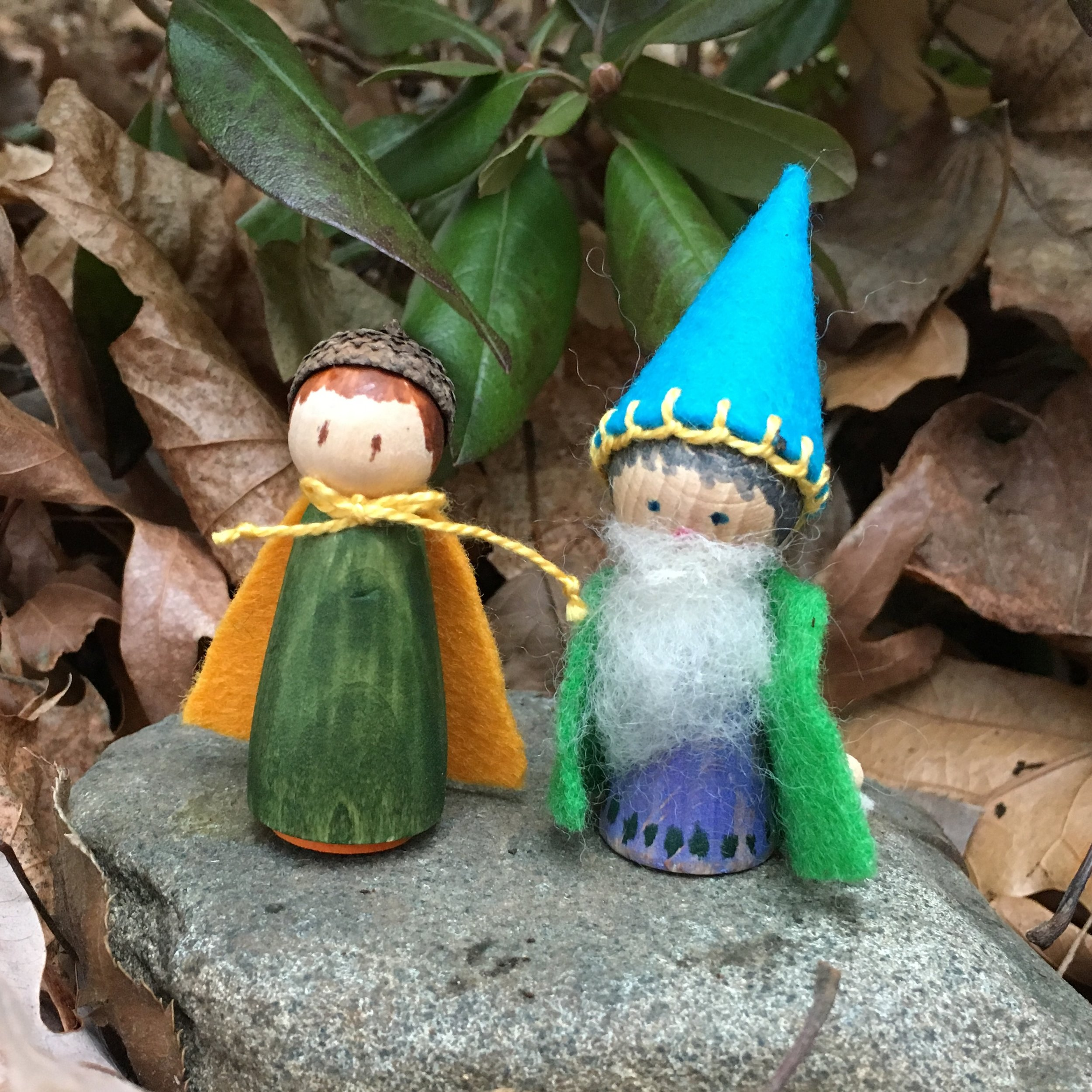 2 inch Acorn girl and a 2 3/4 inch Gnome