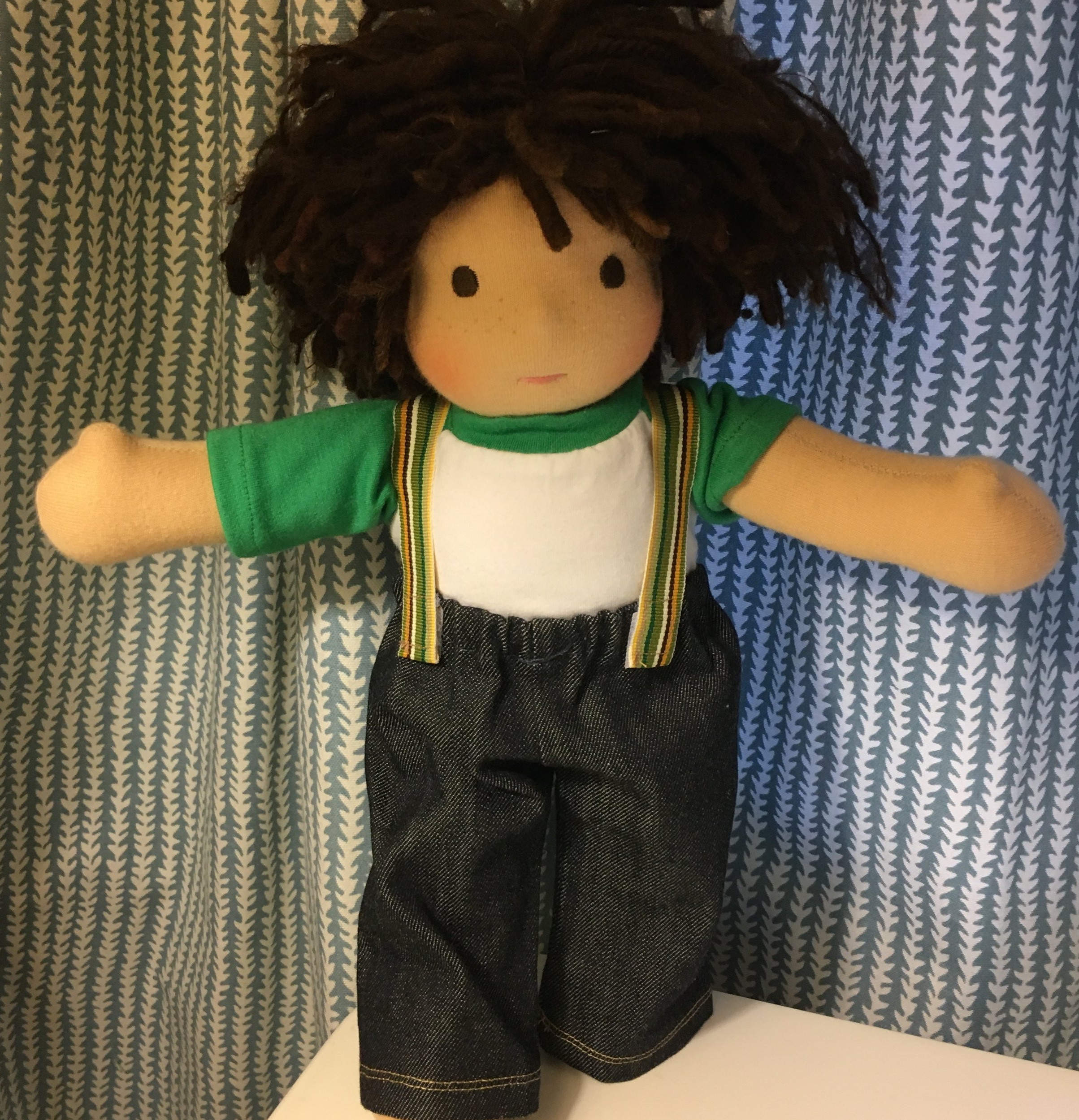 Ribbon Suspenders. The doll, jeans and T shirt were made by  Bamboletta Ltd.