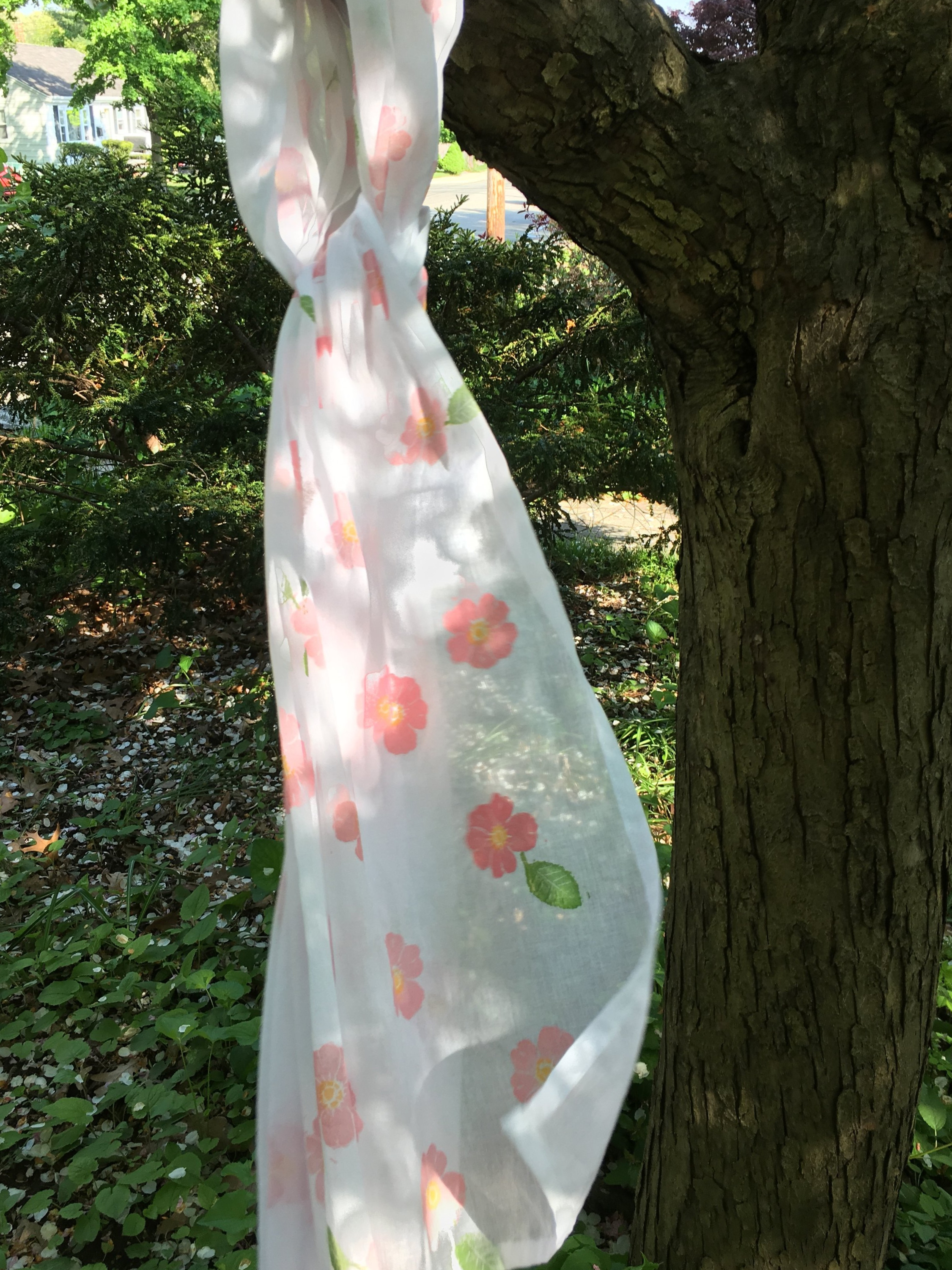 """""""Wild Roses"""" Voile Rectangular Scarf  72 x 21 inches"""