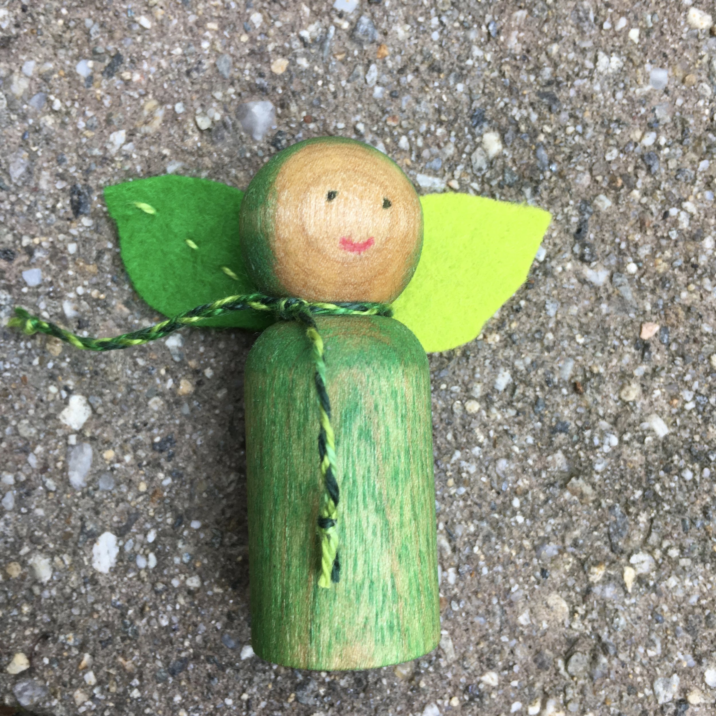 Completed Pea Sprout Peg Doll