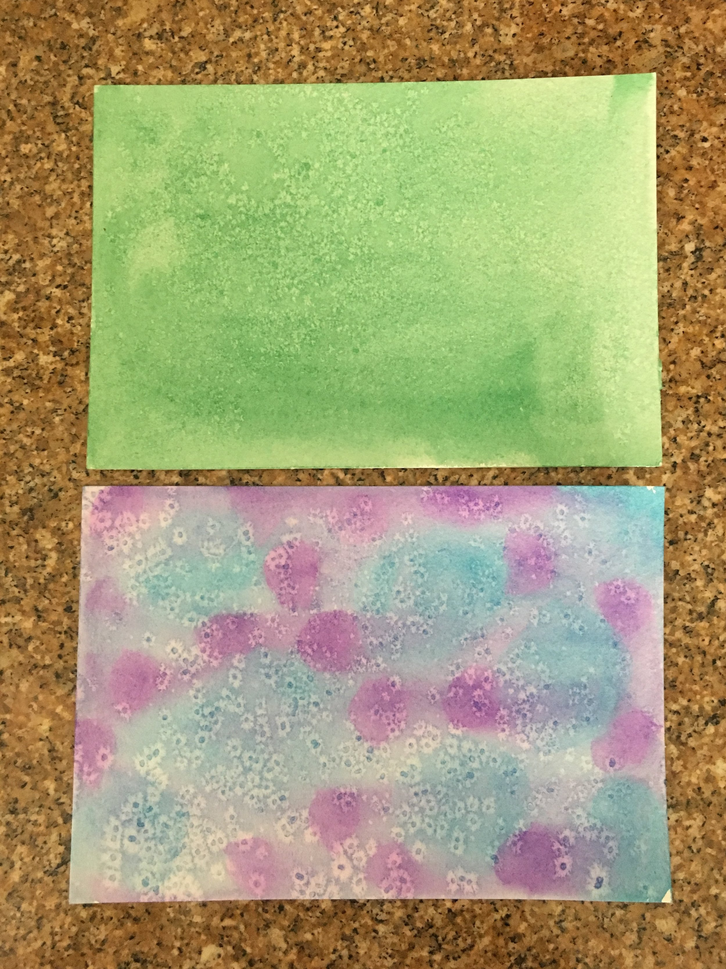 Two Papers created using a Watercolor Salt Technique