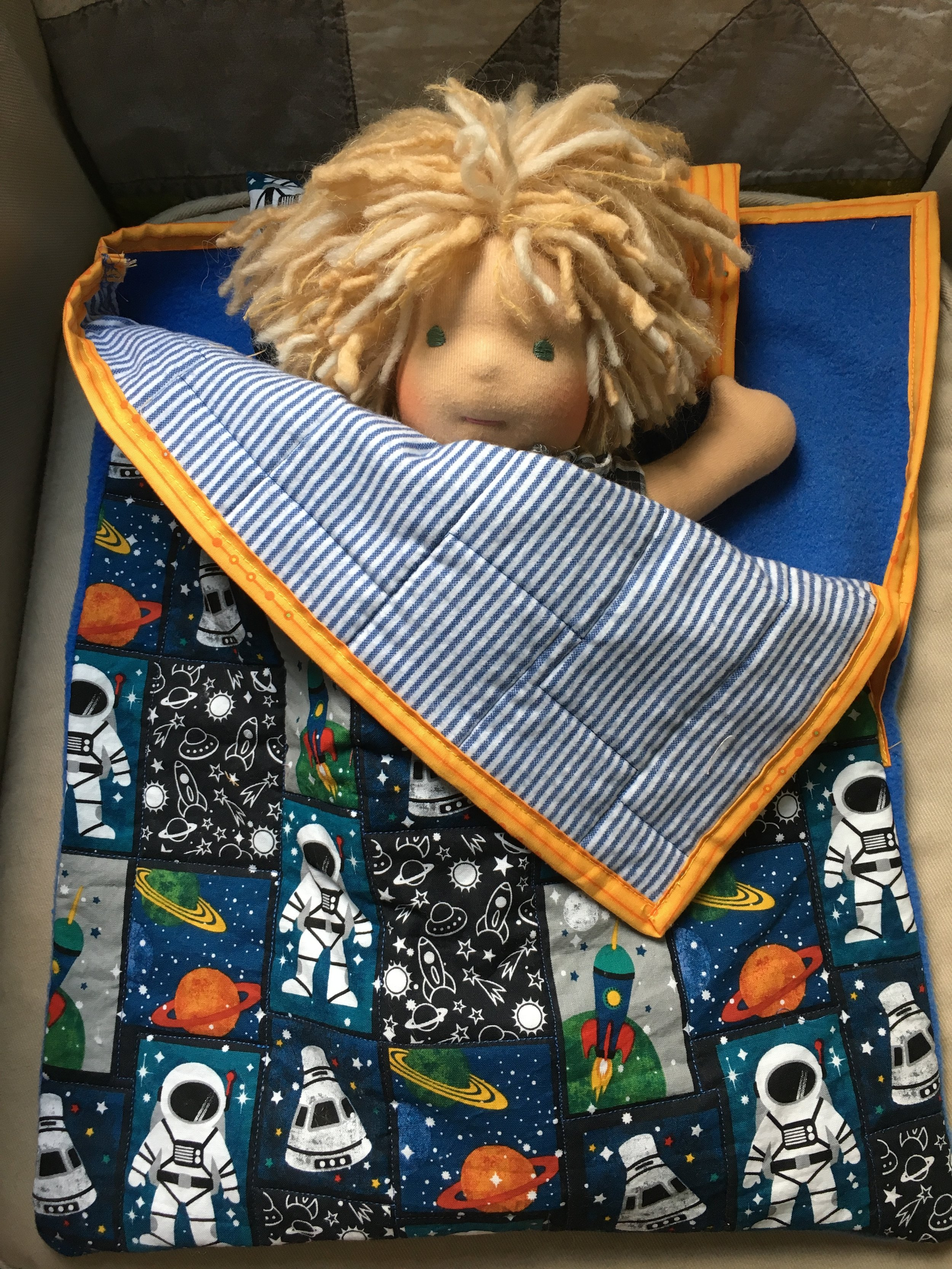 Quilted Doll's Sleeping Bag with a  Bamboletta  Cuddle Doll