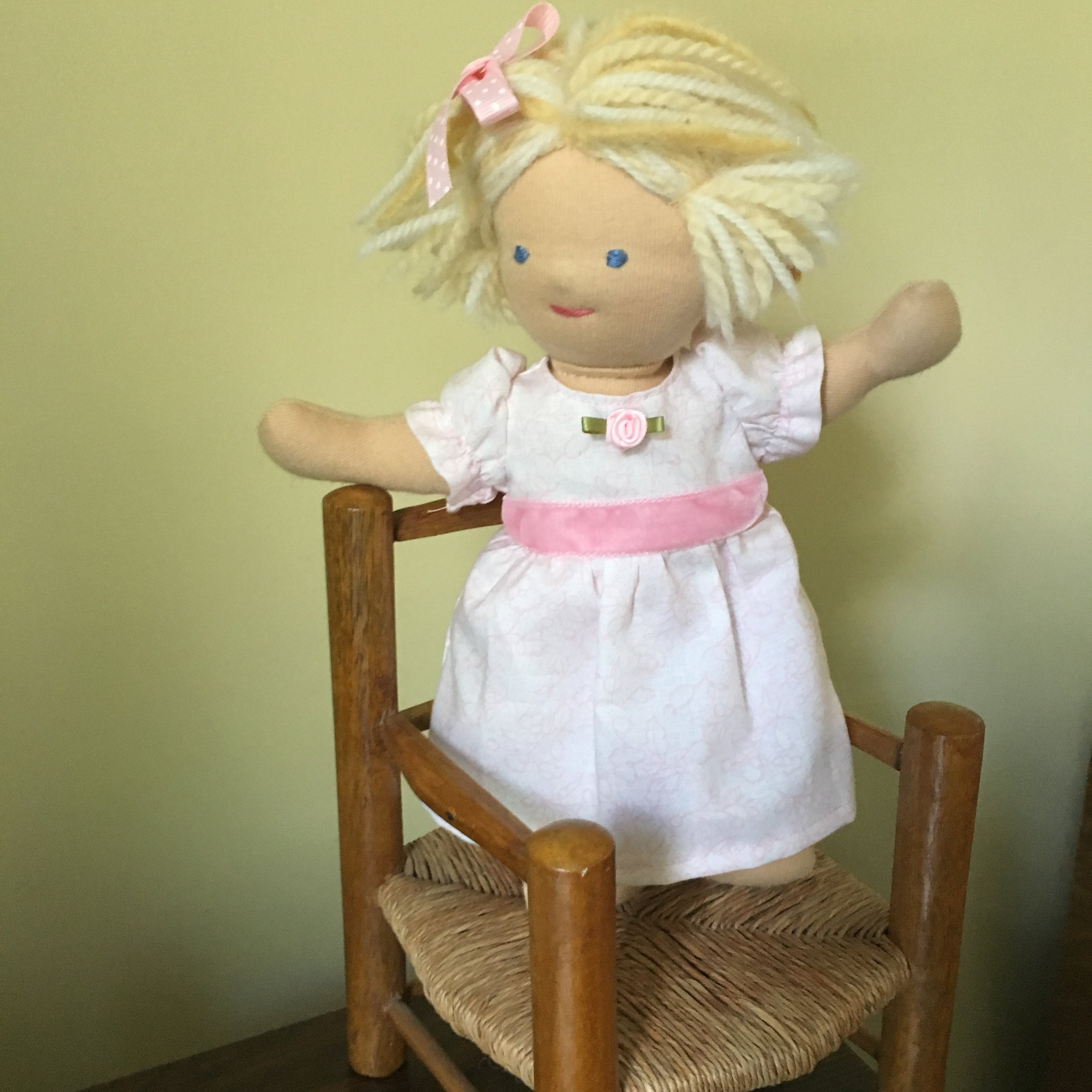 Doll  of the Flower Girl's Outfit (without the shoes because she standing on a chair)!