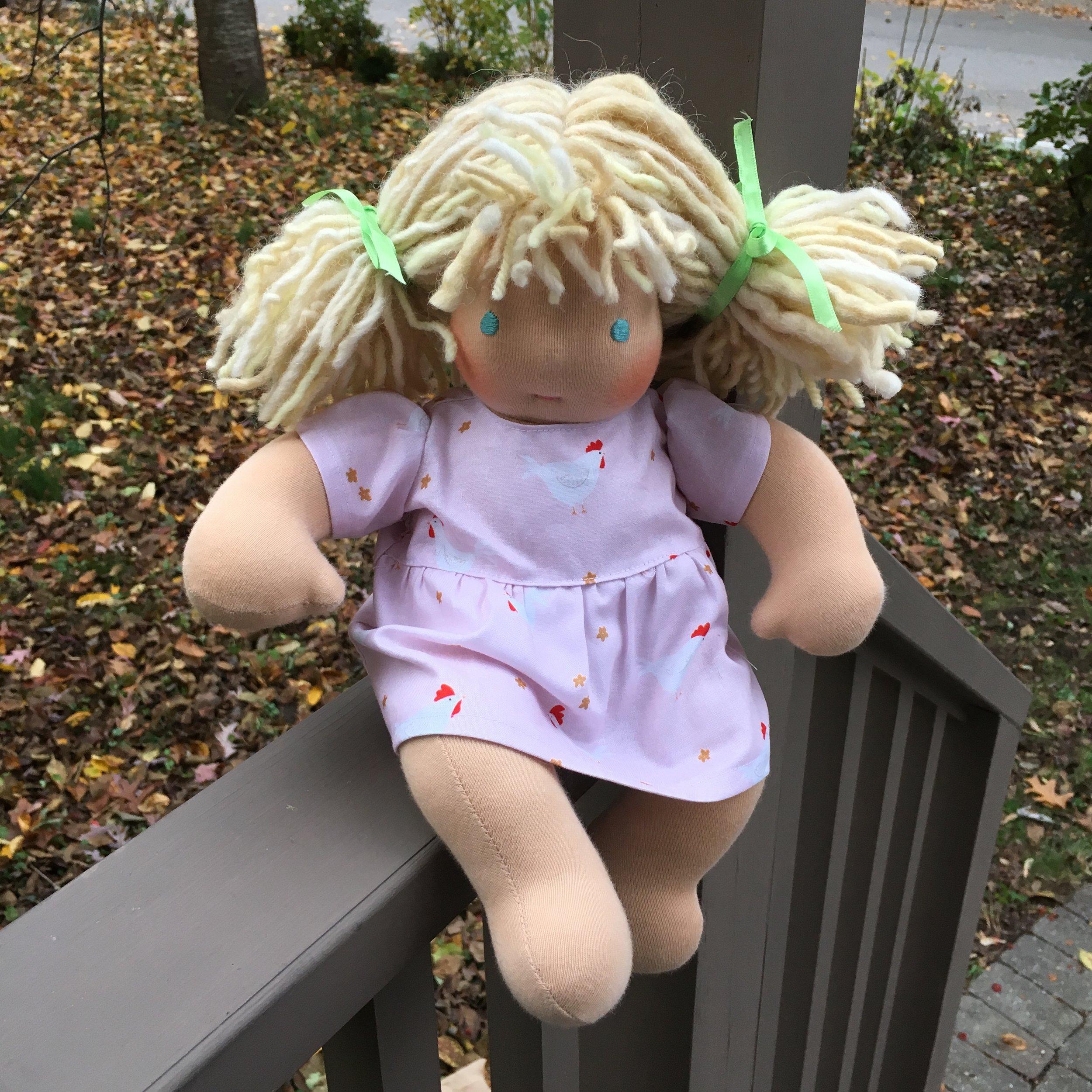 Bamboletta Baby Doll  Lily, modeling her chicken dress