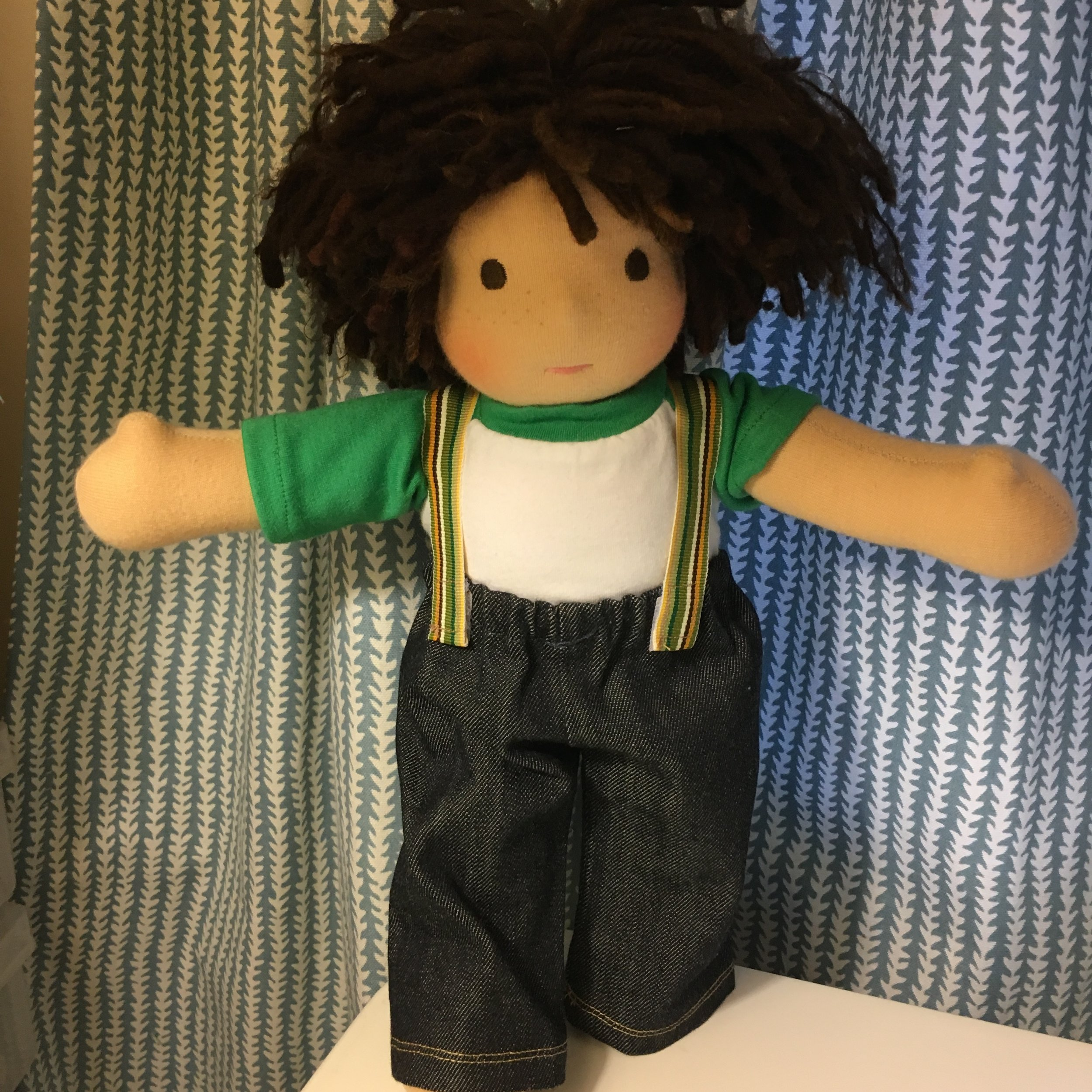Making Suspenders for a Bamboletta Cuddle Doll  (Click link to go to tutorial). Click here to go to  Bamboletta Dolls.