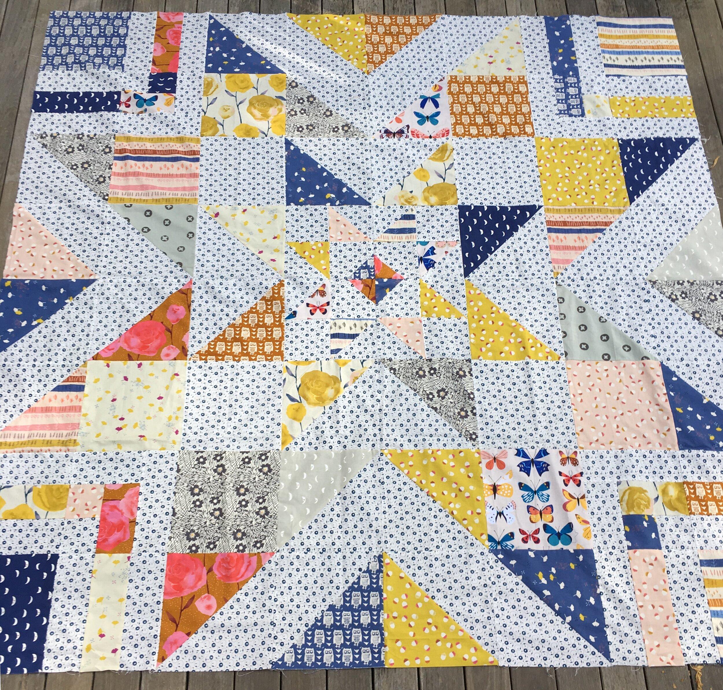 """""""Triple Barnstar"""" Queen size quilt top, work in progress"""