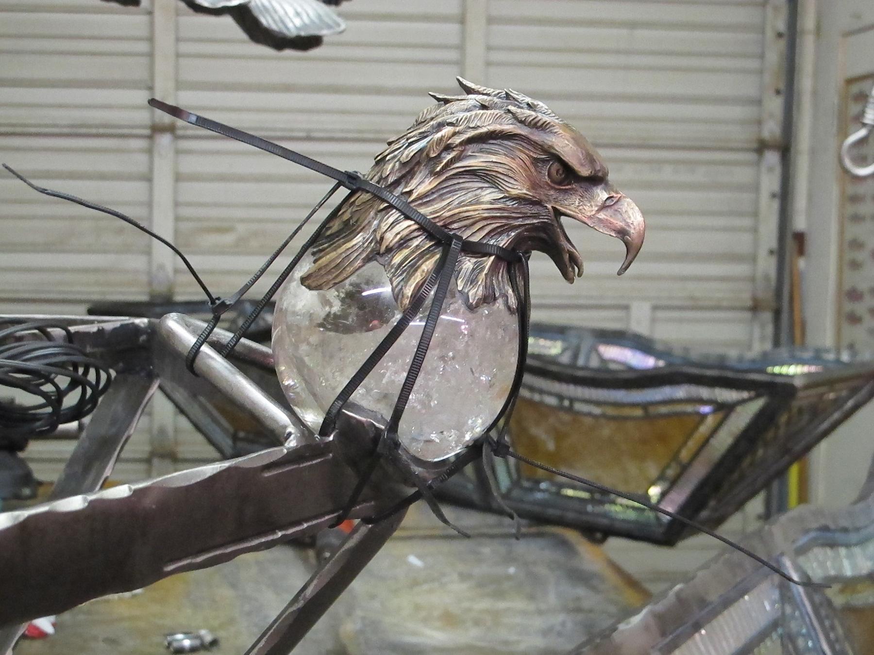 Eaglehead close up in artist studio