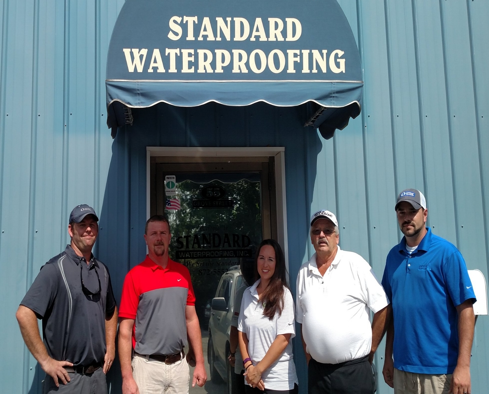 Standard Waterproofing, Inc. lead staff:  left to right  Shawn brooks, Asst. Project manager;   Chad bailey,  senior project manager;  theresa Thompson,  President;  leon van horn,  estimator;  Kevin Nutting,  Southern Maine Project Manager .
