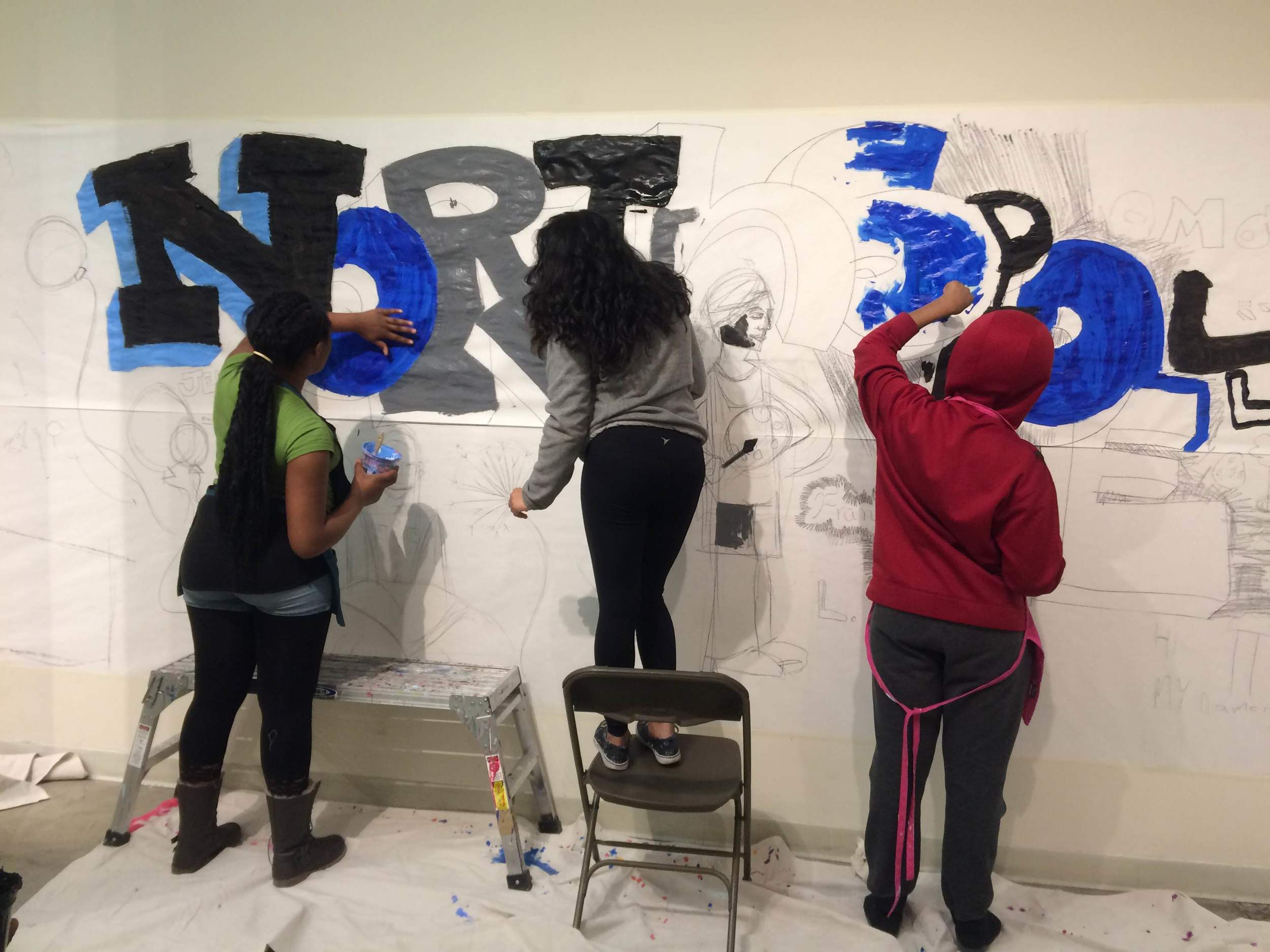 Painting the temporary mural at MCAD!