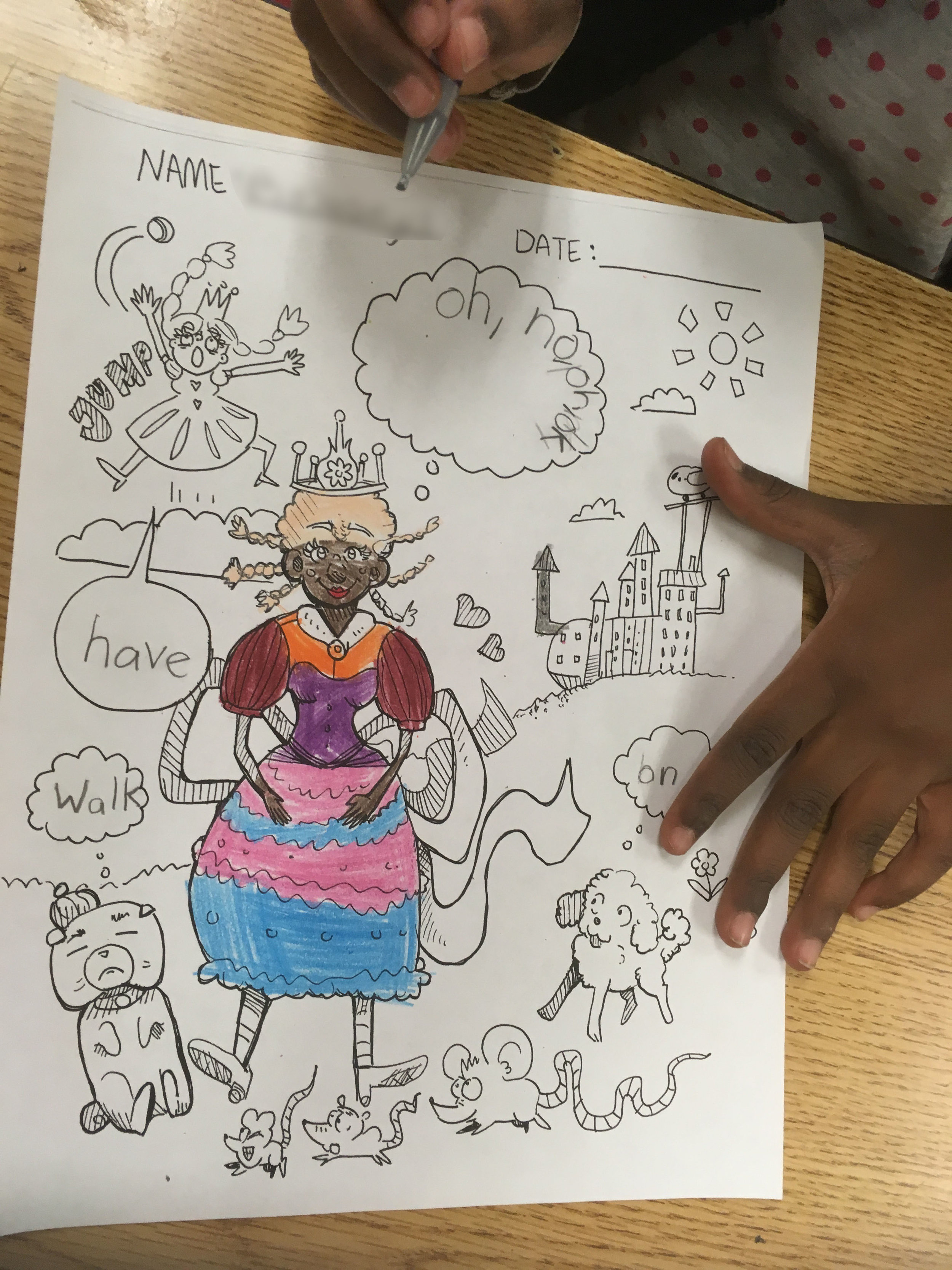 A student beautifully colored a picture of I made of princesses and animals.