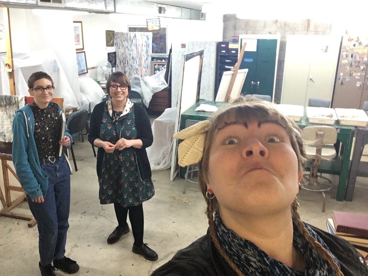 Iris, Jes and Me! A happy selfie after all that paper-cutting.